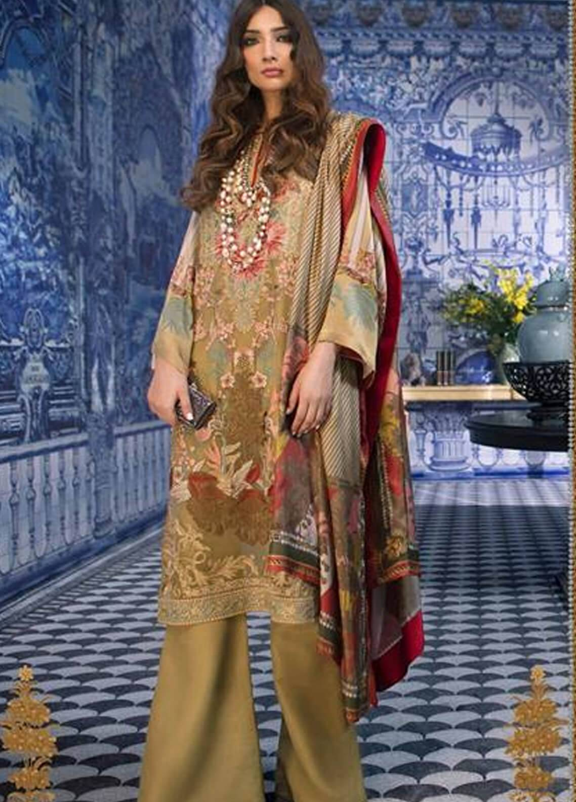 Sana Safinaz Embroidered Chiffon Unstitched 3 Piece Suit SS18C 4A - Silk Chiffon Collection