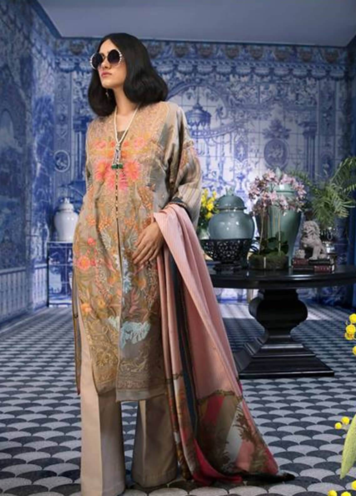 Sana Safinaz Embroidered Chiffon Unstitched 3 Piece Suit SS18C 4B - Silk Chiffon Collection