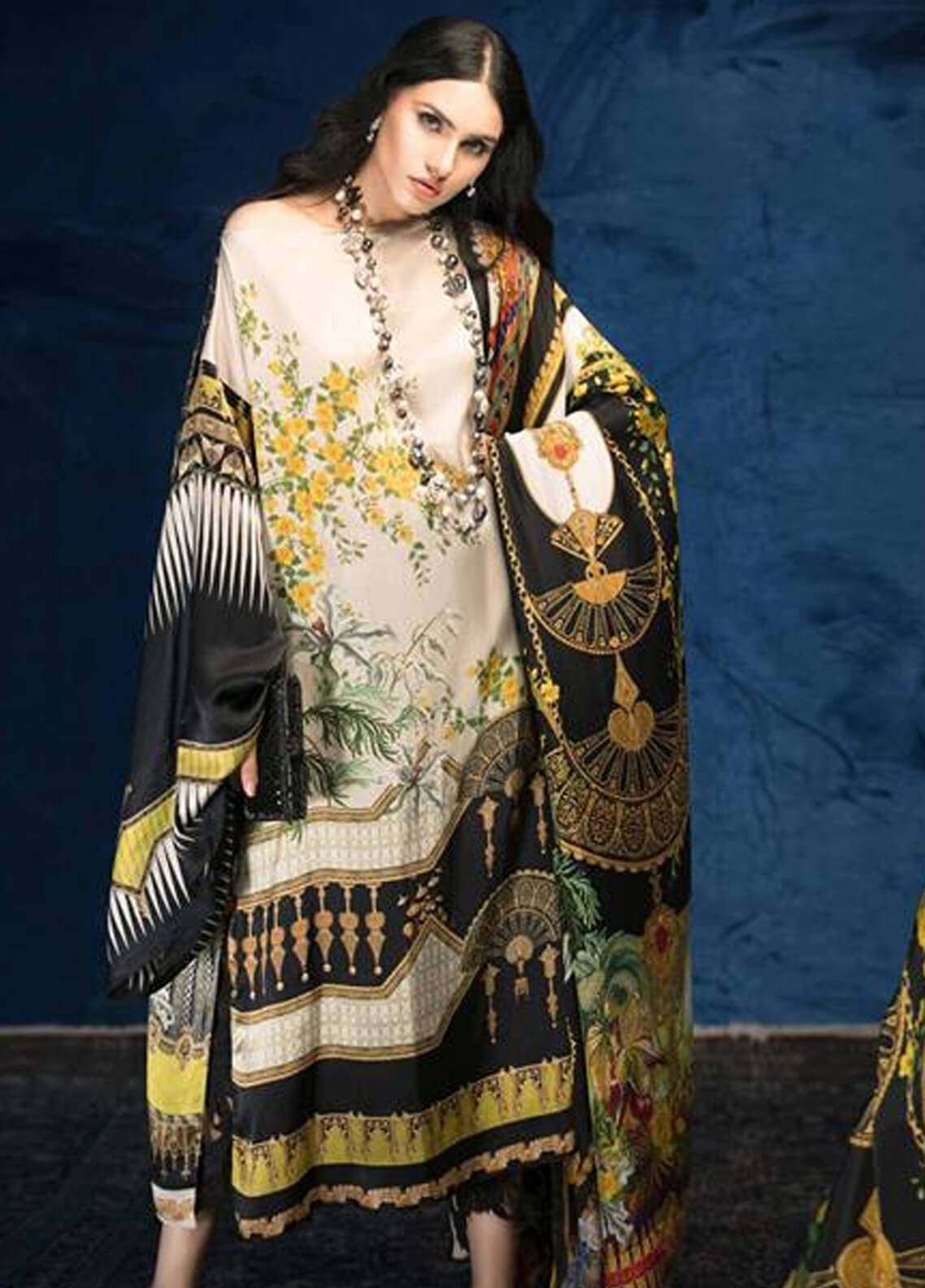 Sana Safinaz Embroidered Chiffon Unstitched 3 Piece Suit SS18C 6A - Silk Chiffon Collection