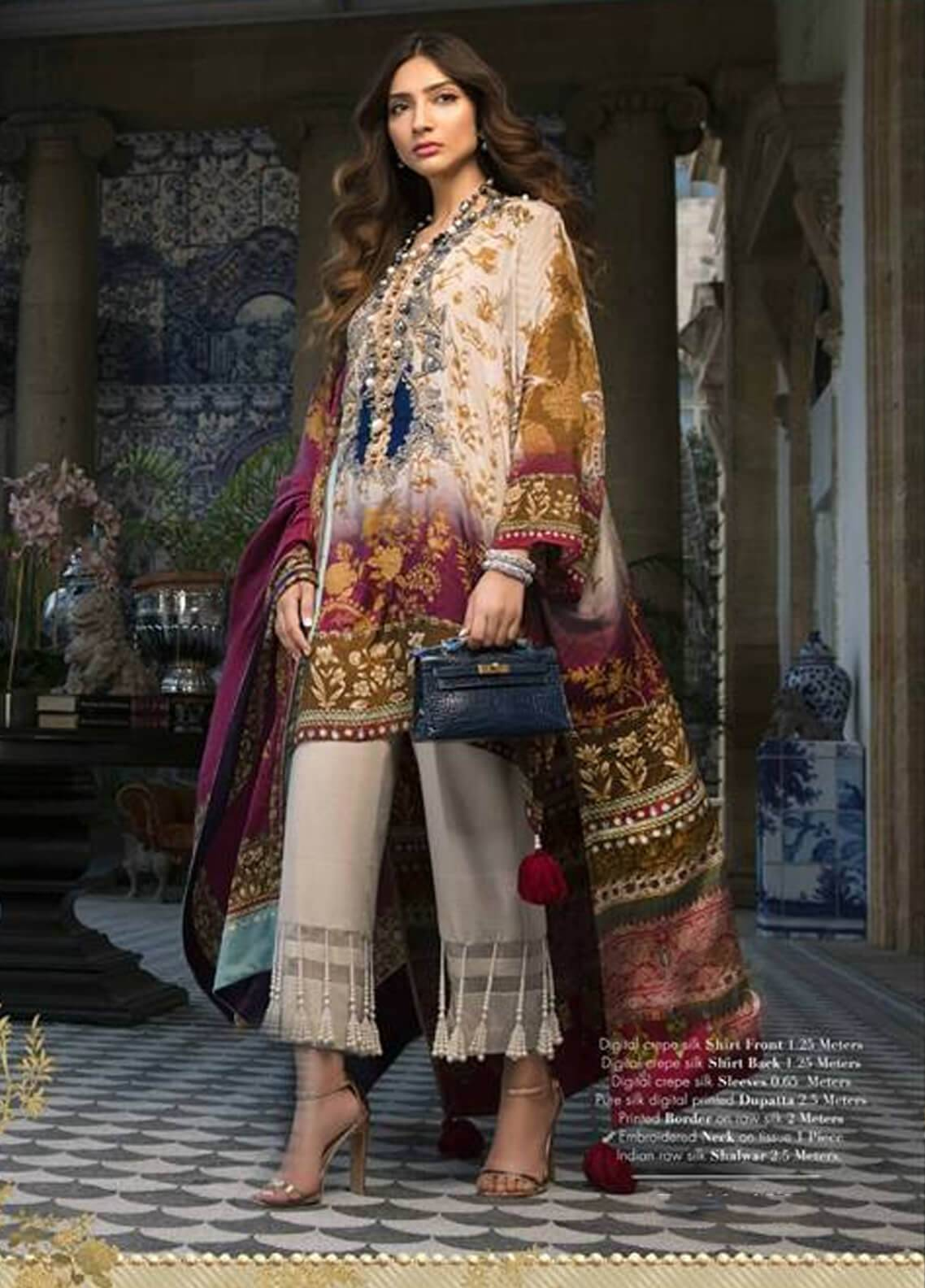 Sana Safinaz Embroidered Chiffon Unstitched 3 Piece Suit SS18C 7B - Silk Chiffon Collection