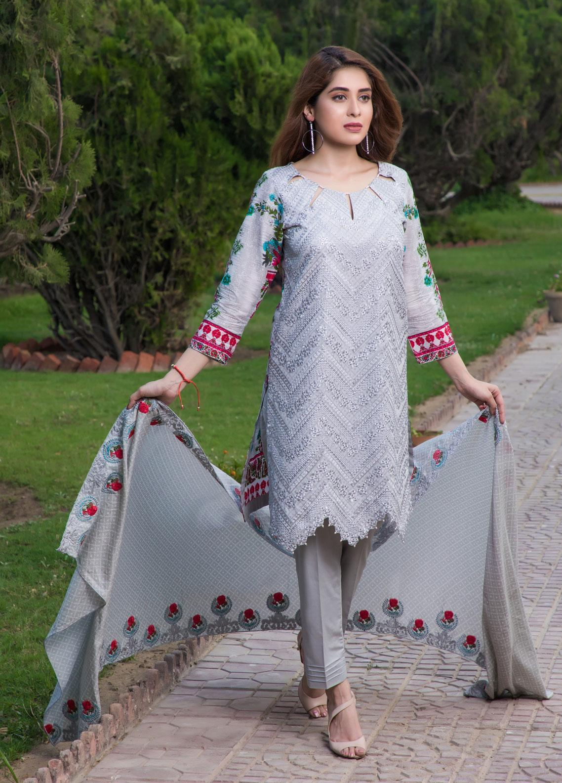 Subata by Regalia Textiles Embroidered Lawn Unstitched 3 Piece Suit SBR19F 1B - Festive Collection