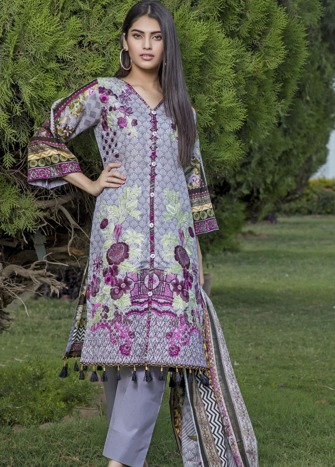 Subata by Regalia Textiles Embroidered Lawn Unstitched 3 Piece Suit SBR19F 4B - Festive Collection