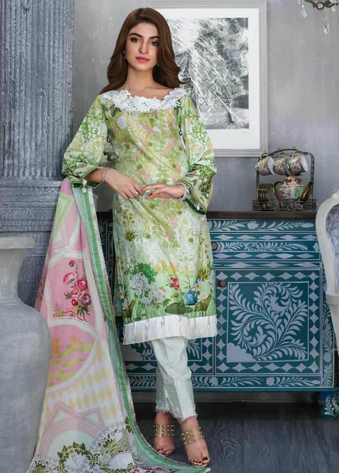 Al Zohaib Printed Cotton Silk Unstitched 3 Piece Suit AZ18CS 12 - Premium Collection