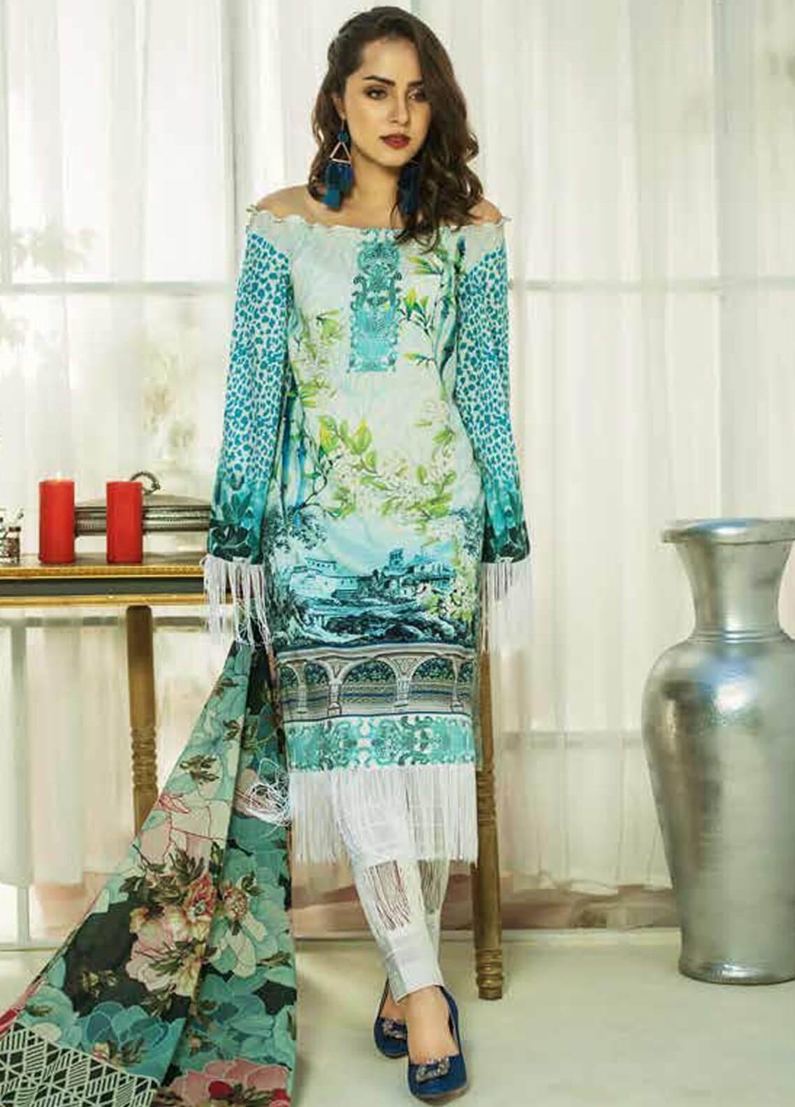 Al Zohaib Printed Cotton Silk Unstitched 3 Piece Suit AZ18CS 14B - Premium Collection