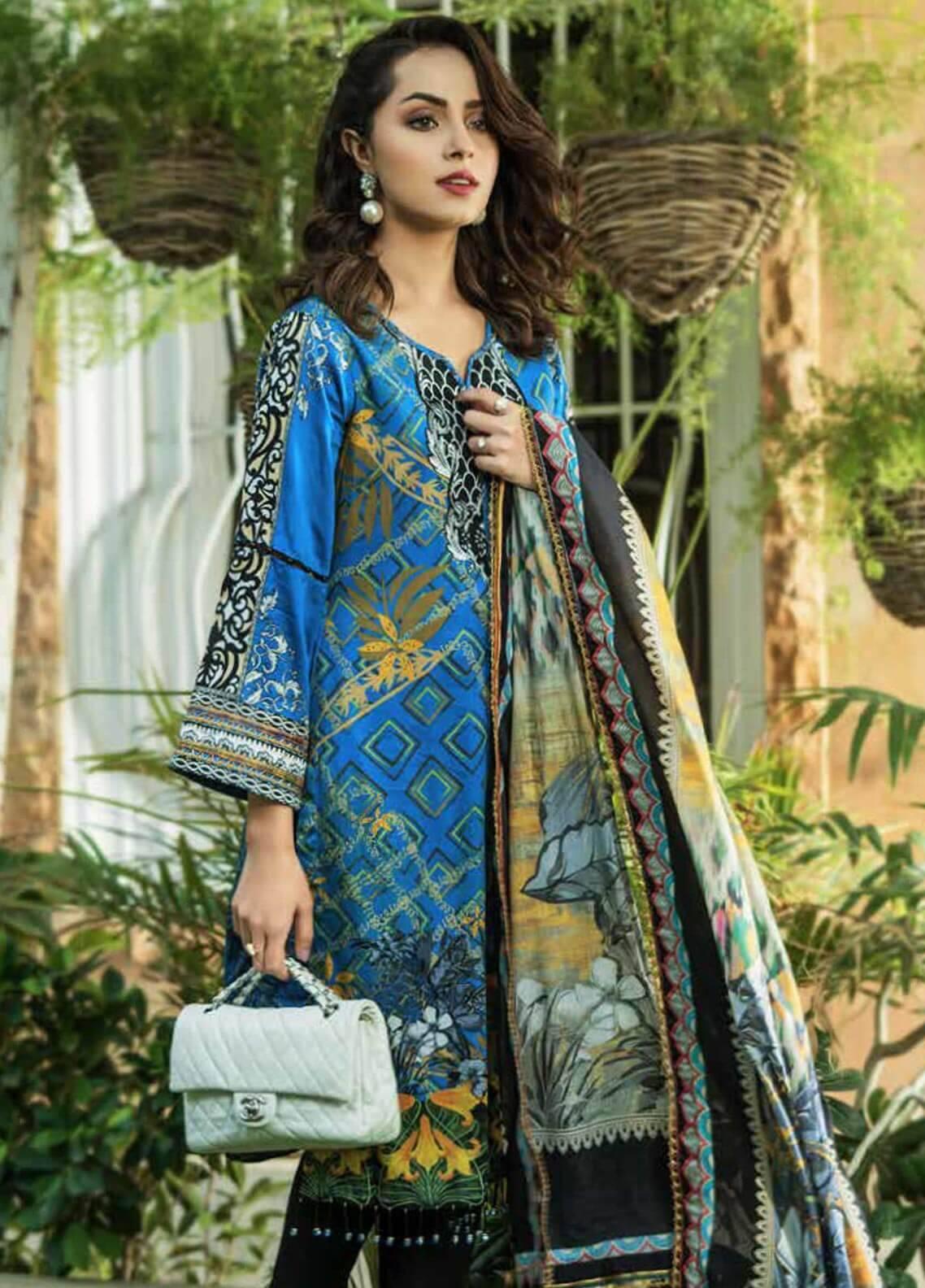 Al Zohaib Printed Cotton Silk Unstitched 3 Piece Suit AZ18CS 17B - Premium Collection