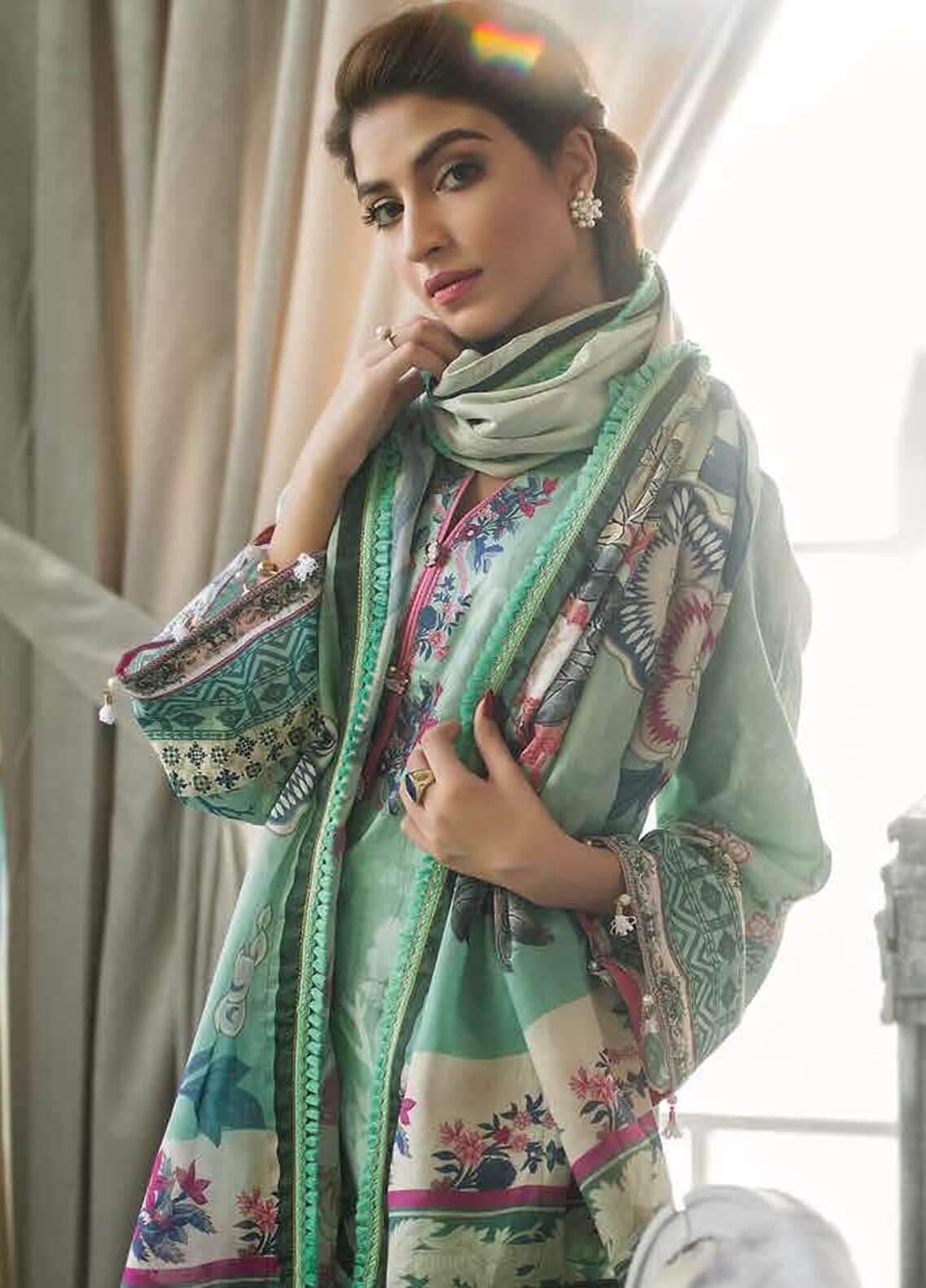 Al Zohaib Printed Cotton Silk Unstitched 3 Piece Suit AZ18CS 18 - Premium Collection