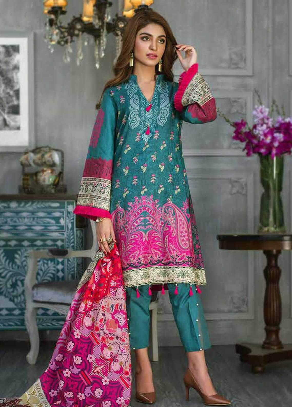 Al Zohaib Printed Cotton Silk Unstitched 3 Piece Suit AZ18CS 19 - Premium Collection