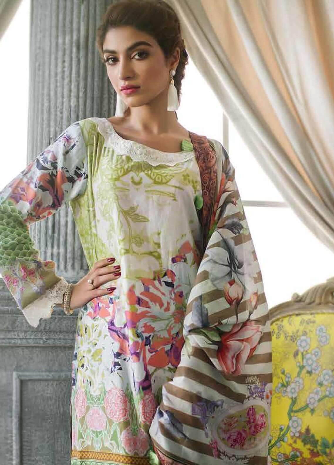 Al Zohaib Printed Cotton Silk Unstitched 3 Piece Suit AZ18CS 20 - Premium Collection