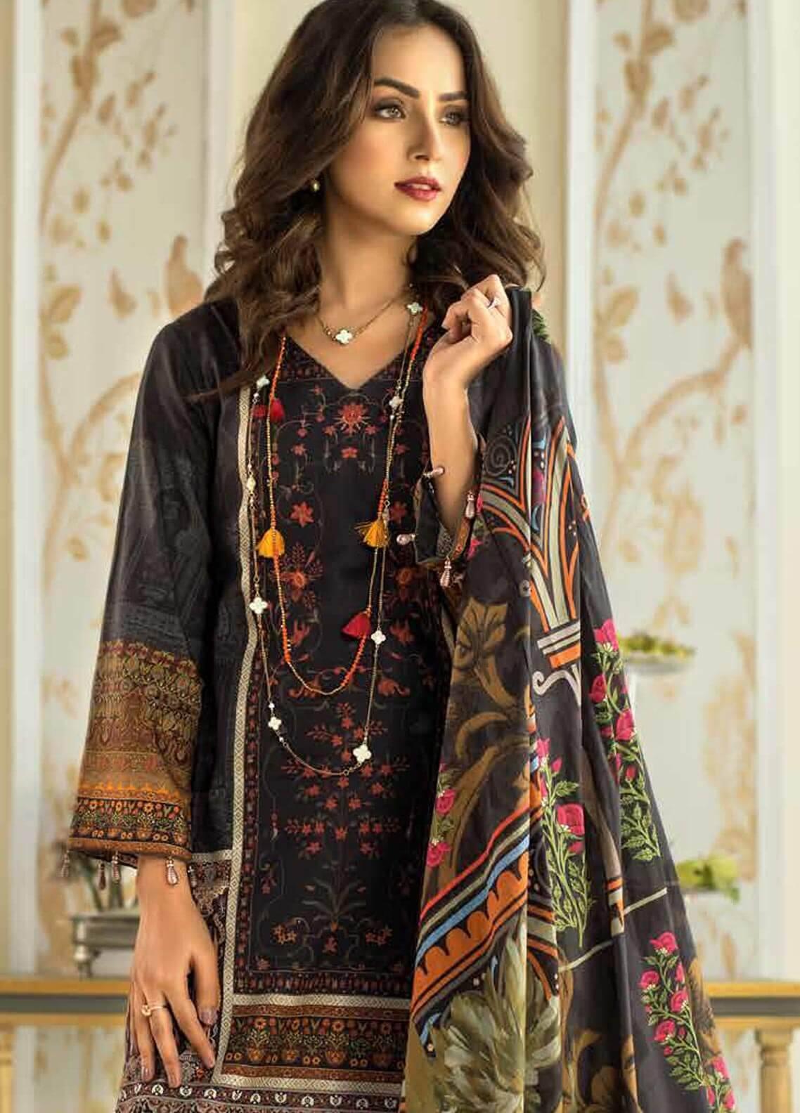 Al Zohaib Printed Cotton Silk Unstitched 3 Piece Suit AZ18CS 21 - Premium Collection