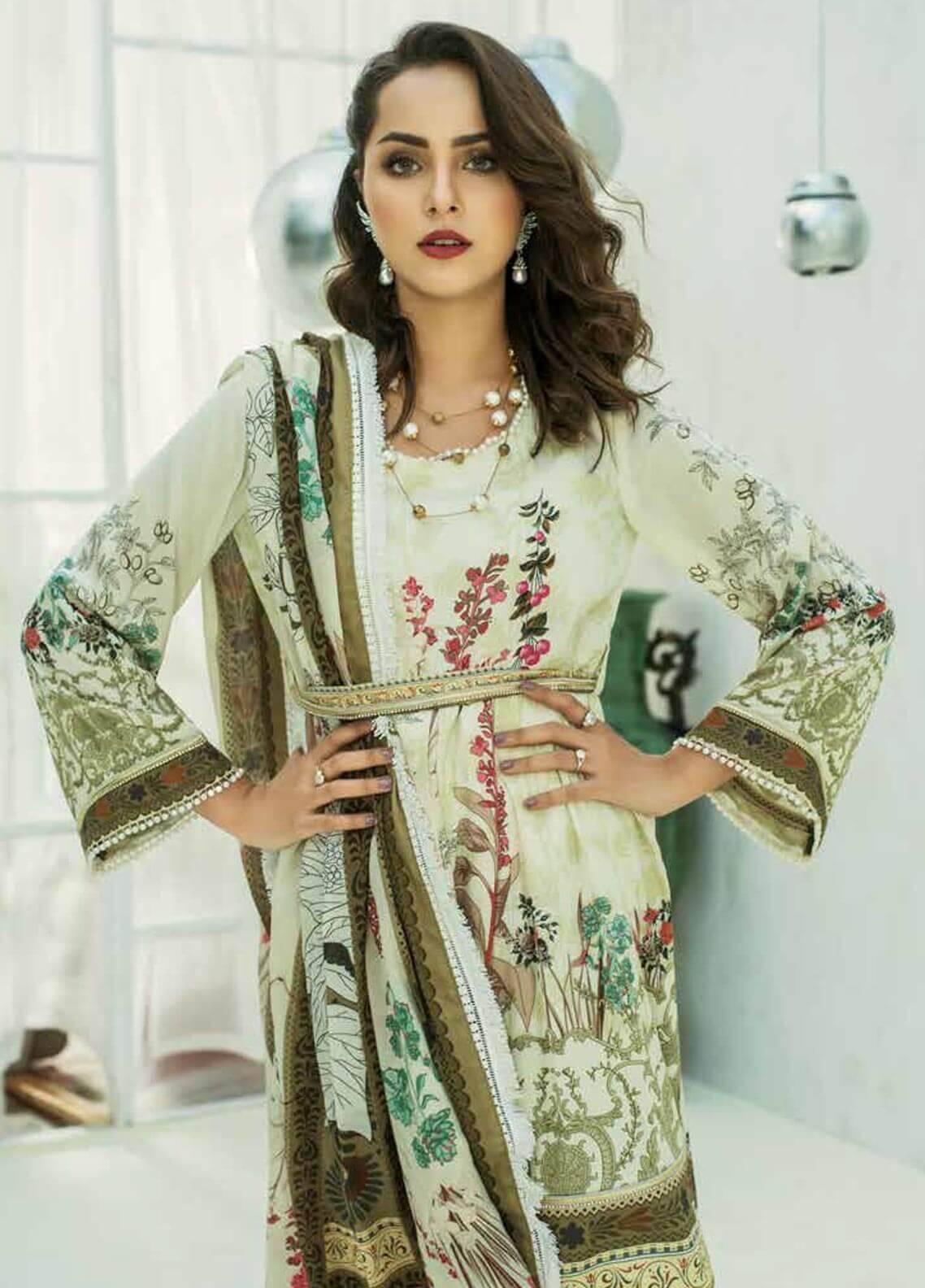 Al Zohaib Printed Cotton Silk Unstitched 3 Piece Suit AZ18CS 22B - Premium Collection
