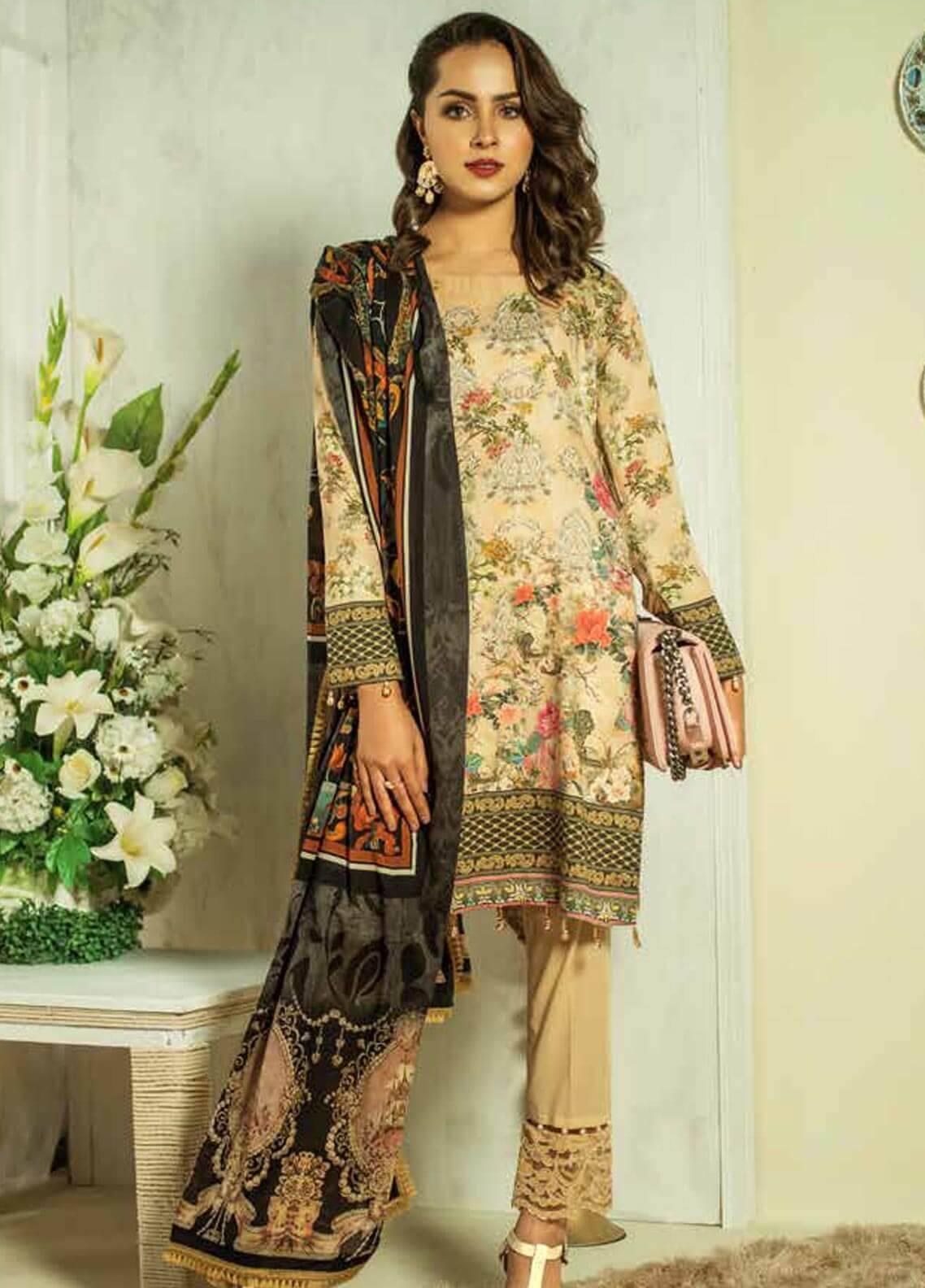 Al Zohaib Printed Cotton Silk Unstitched 3 Piece Suit AZ18CS 23 - Premium Collection