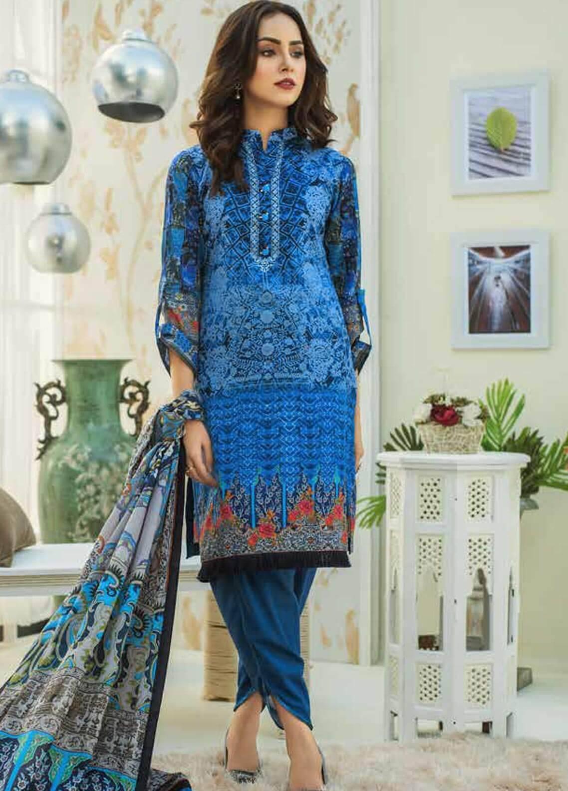 Al Zohaib Printed Cotton Silk Unstitched 3 Piece Suit AZ18CS 24 - Premium Collection