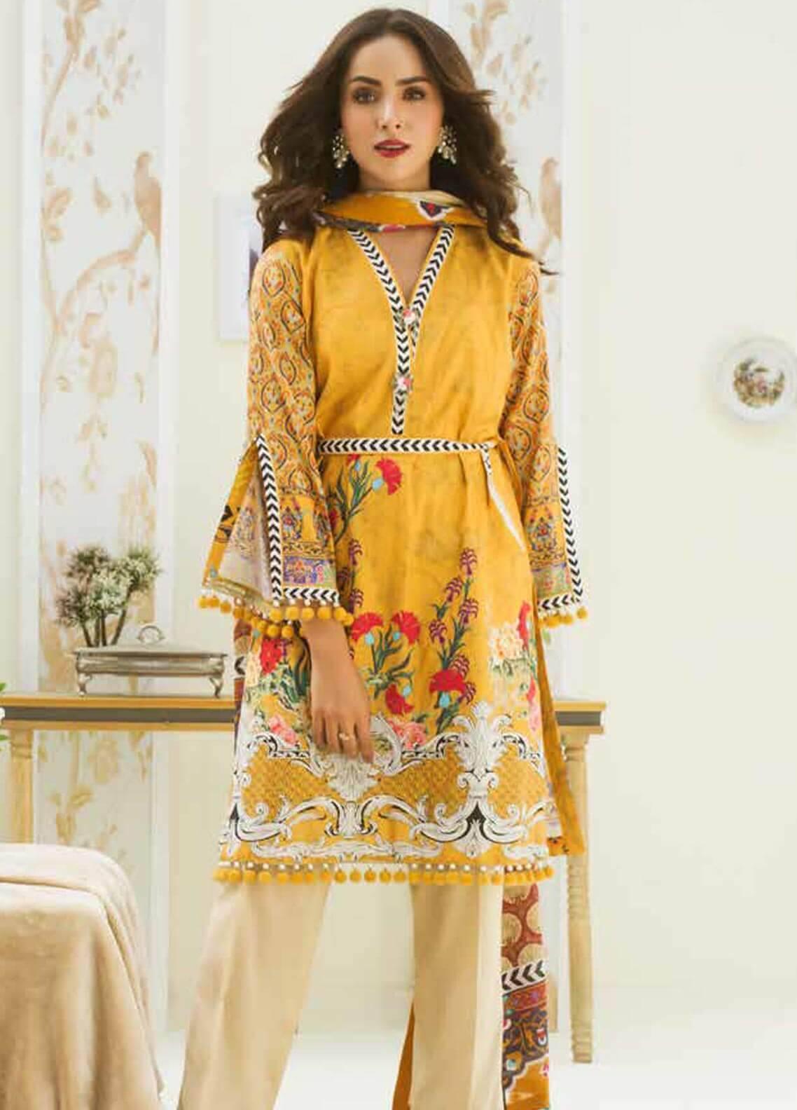Al Zohaib Printed Cotton Silk Unstitched 3 Piece Suit AZ18CS 25 - Premium Collection