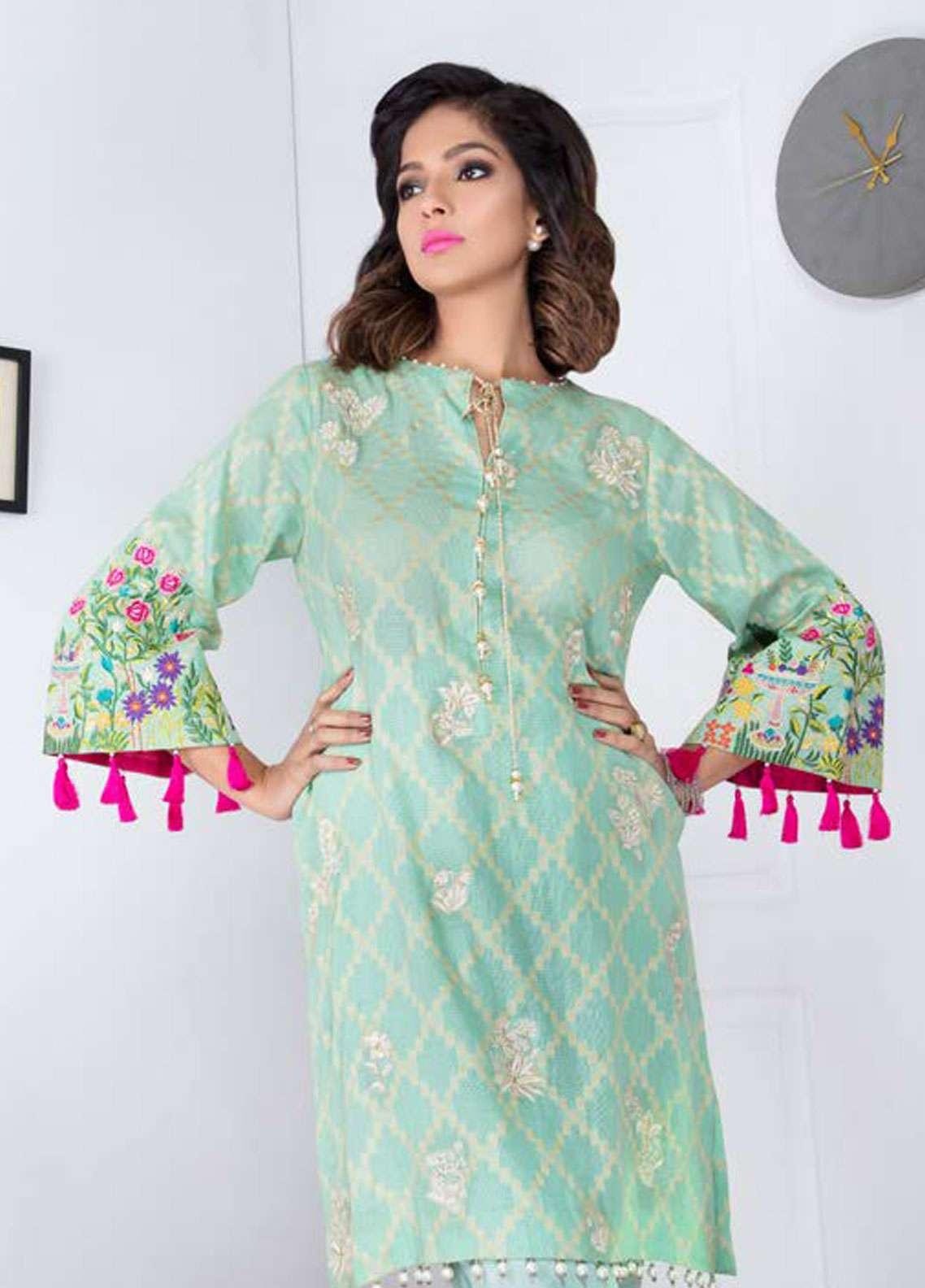 Takhleek By Hijab Omer Embroidered Jacquard Stitched Kurtis Angan TK-1804 Turquoise