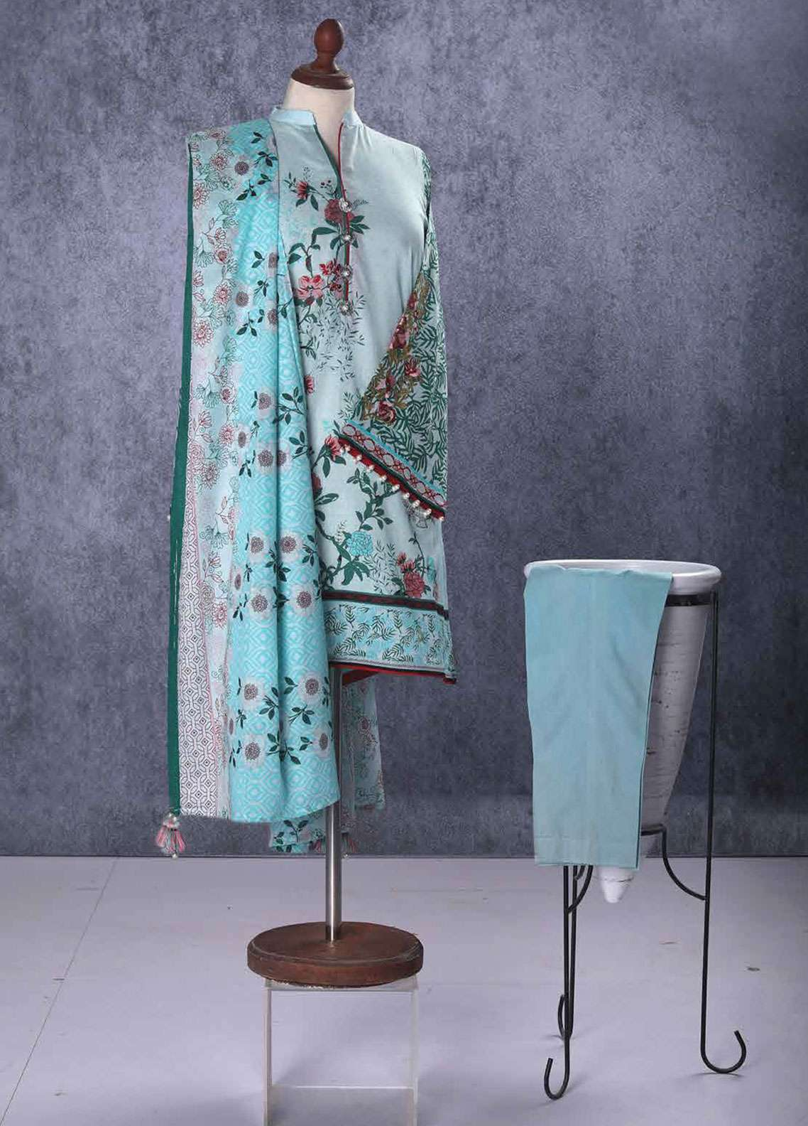 Tarzz Embroidered Lawn Unstitched 2 Piece Suit TZ19L 05A MORNING MIST - Spring / Summer Collection