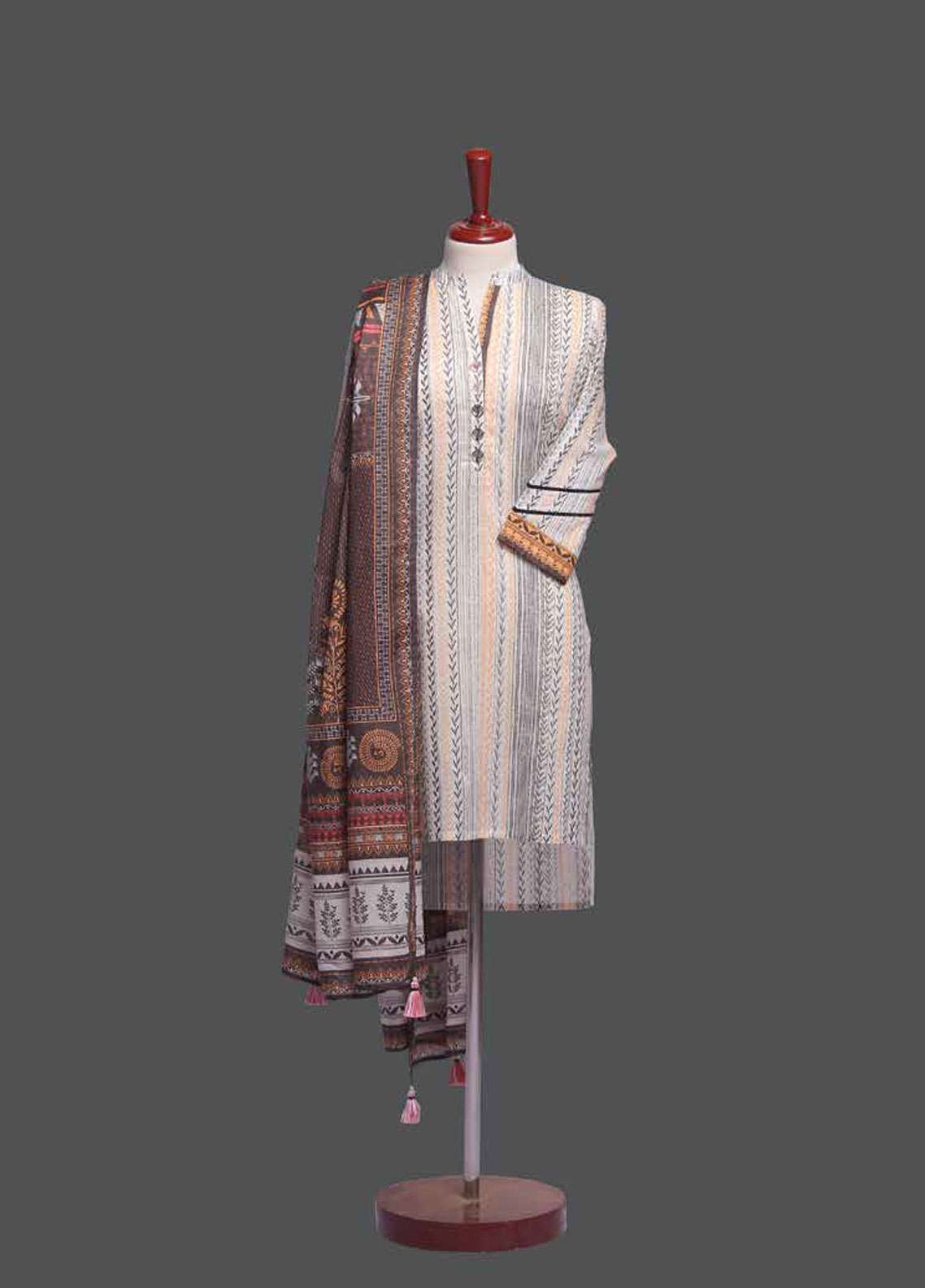Tarzz Printed Lawn Unstitched 2 Piece Suit TZ19L 11A RUSTIC FOLIOLE - Spring / Summer Collection