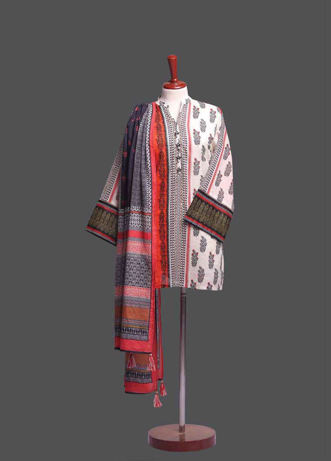Tarzz Printed Lawn Unstitched 2 Piece Suit TZ19L 13A SCARLET CROSSFIRE - Spring / Summer Collection