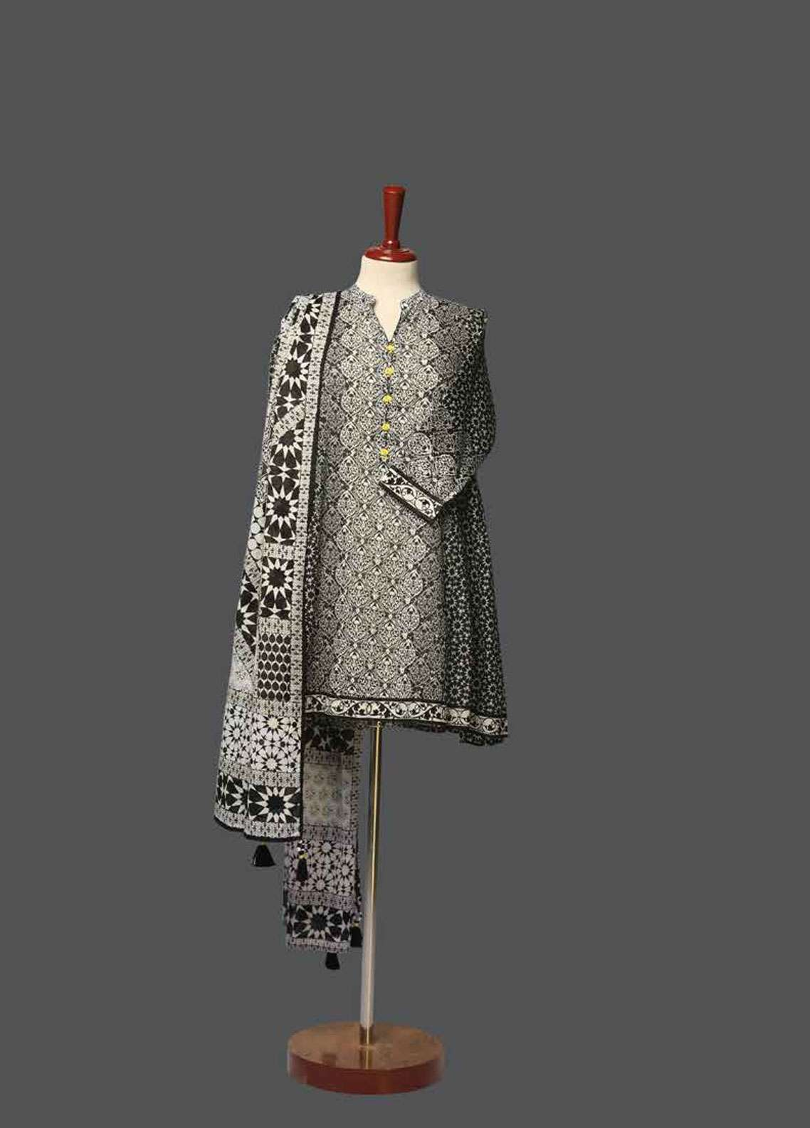 Tarzz Printed Lawn Unstitched 2 Piece Suit TZ19L 13A TOUCH OF NOIR - Spring / Summer Collection