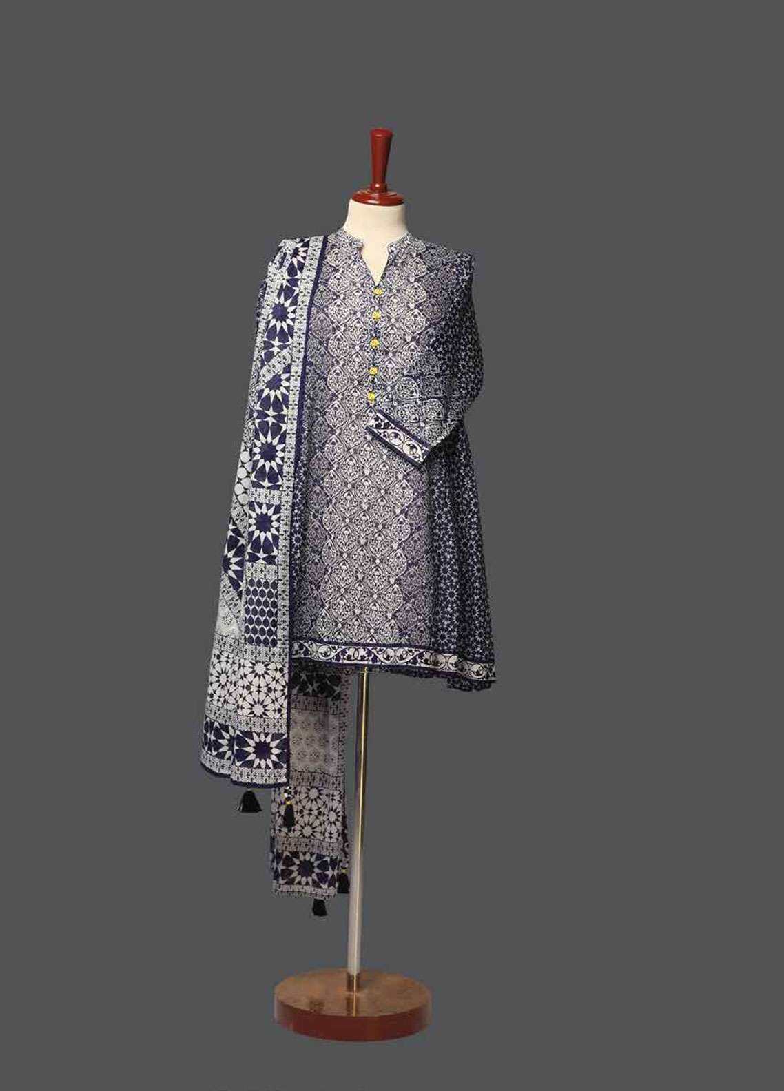 Tarzz Printed Lawn Unstitched 2 Piece Suit TZ19L 13B TOUCH OF BLEU - Spring / Summer Collection