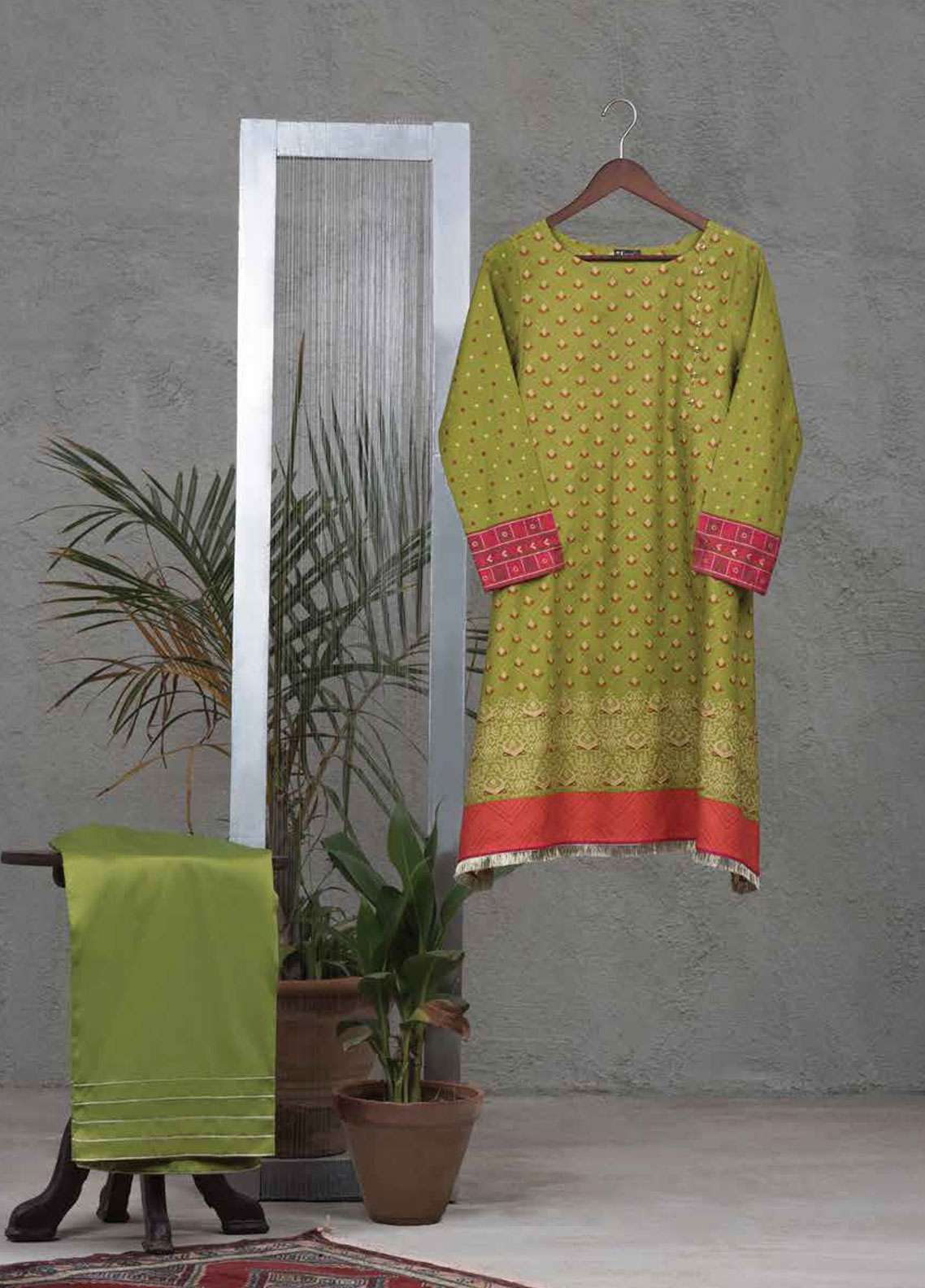 Tarzz Printed Cotton Satin Unstitched 2 Piece Suit TZ19L 29 EVERGREEN TALE - Spring / Summer Collection