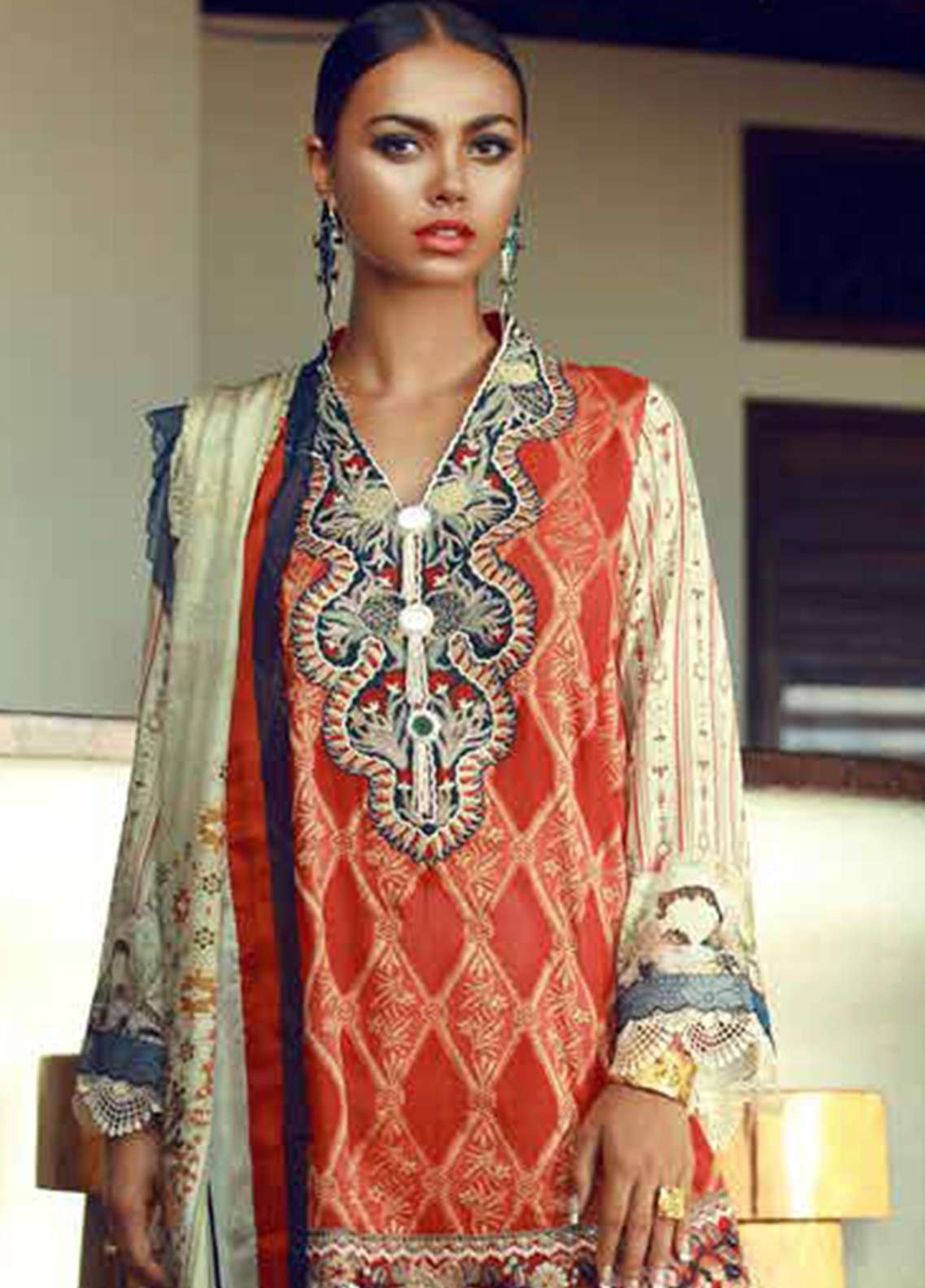 Tena Durrani Embroidered Lawn Unstitched 3 Piece Suit TD18F 01 - Eid ul Azha Collection