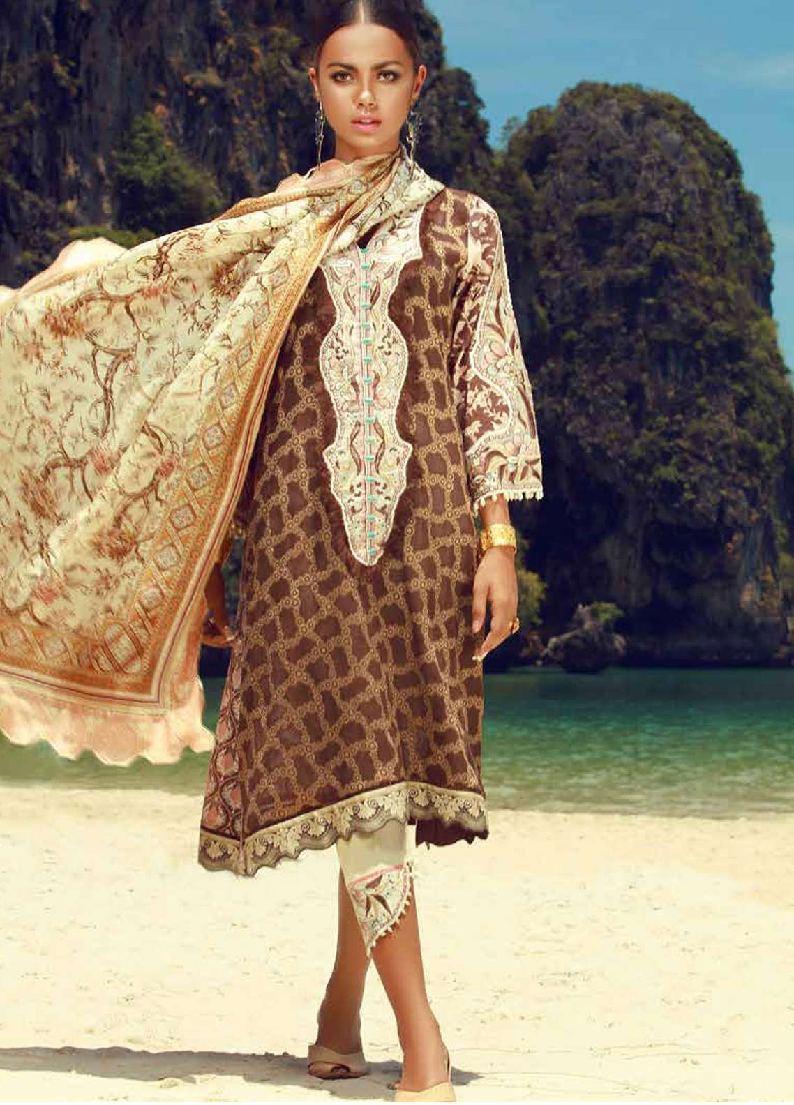 Tena Durrani Embroidered Lawn Unstitched 3 Piece Suit TD18F 06 - Eid ul Azha Collection
