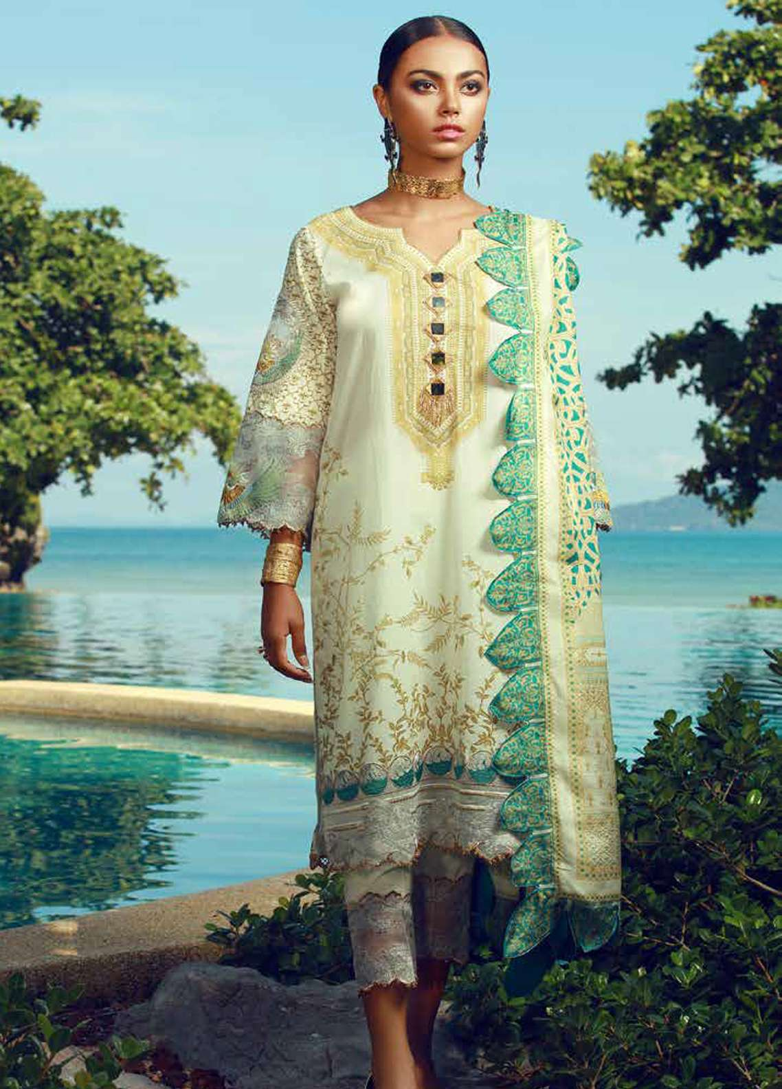 Tena Durrani Embroidered Lawn Unstitched 3 Piece Suit TD18F 11 - Eid ul Azha Collection