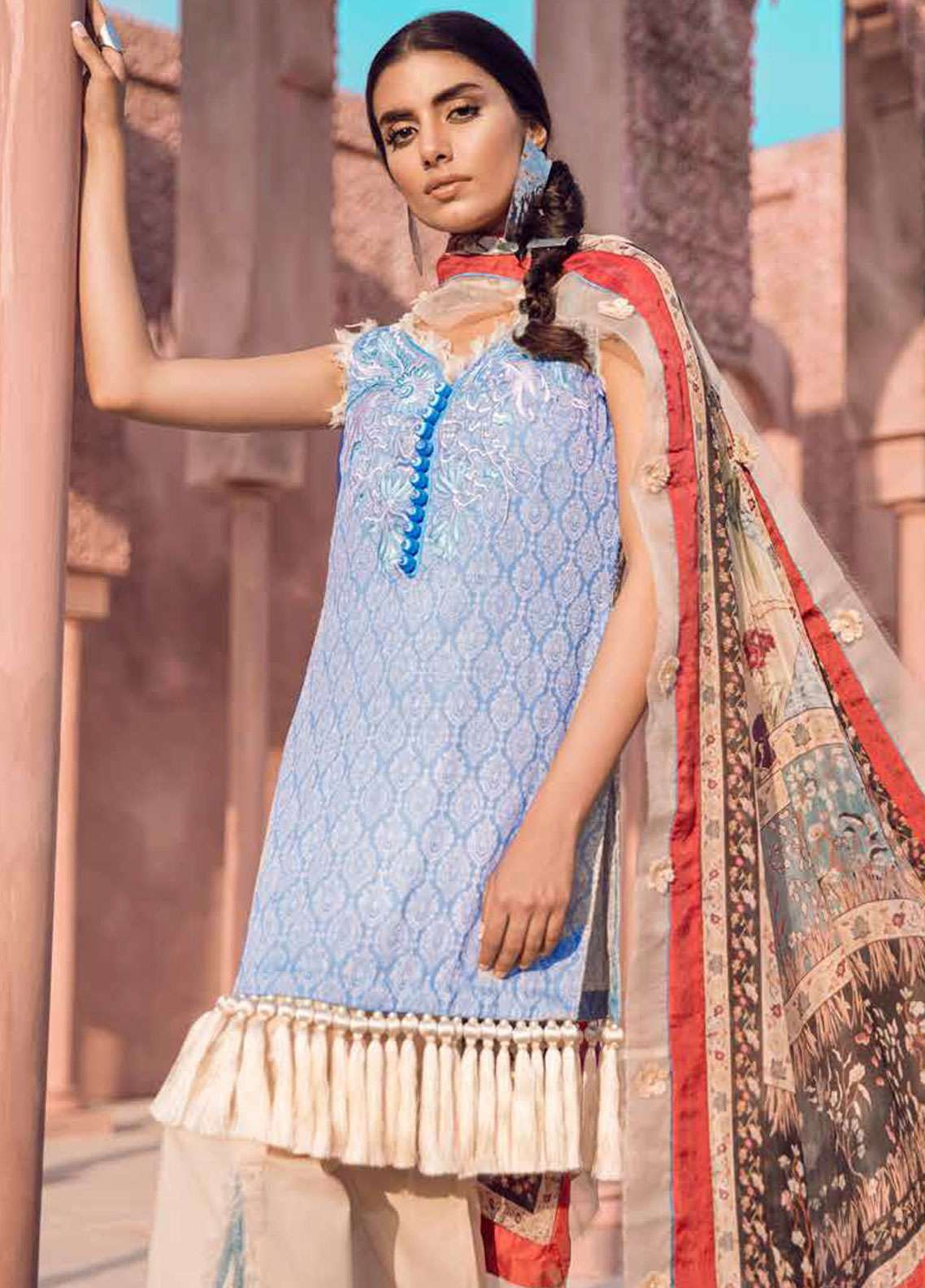 Tena Durrani Embroidered Lawn Unstitched 3 Piece Suit TD18L 15 - Spring / Summer Collection
