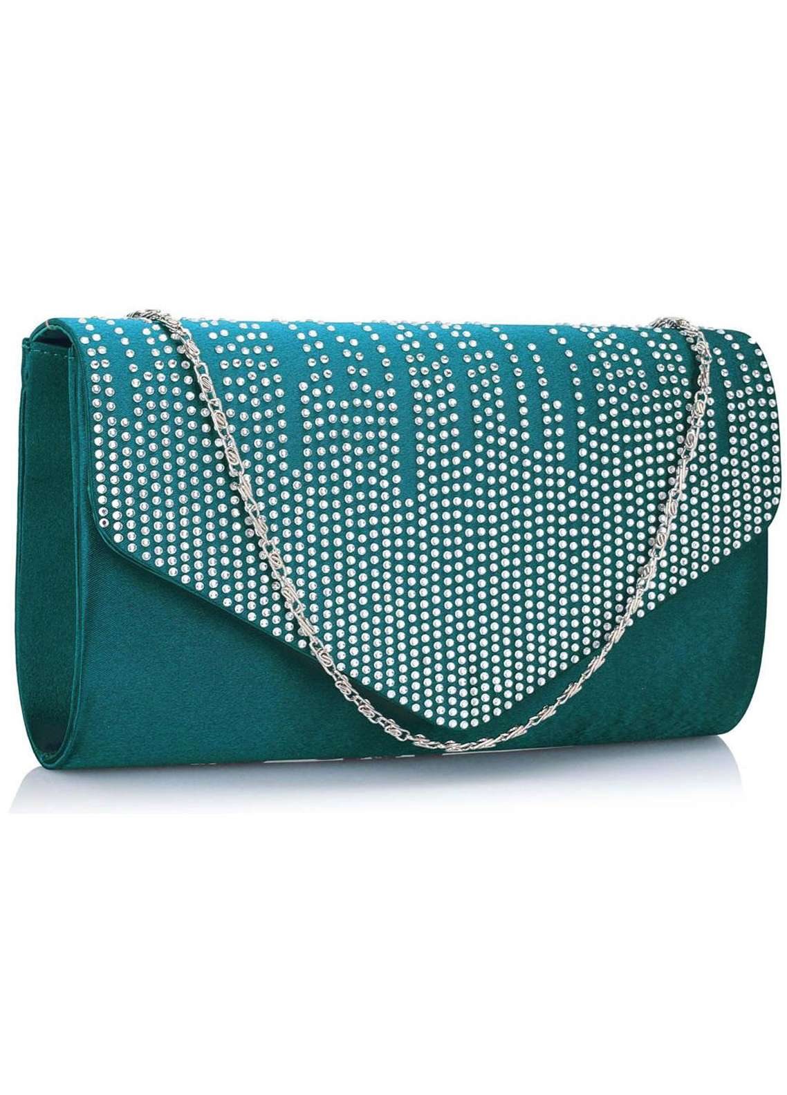 Leesun London  Faux Leather Purse Bags  for Women  Teal with Plain Texture