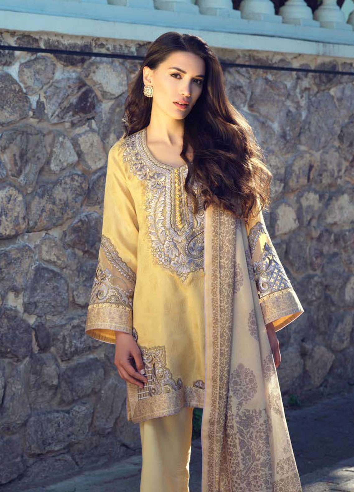 Tena Durrani Embroidered Lawn Unstitched 3 Piece Suit TD19L 12A NISANUR - Spring / Summer Collection