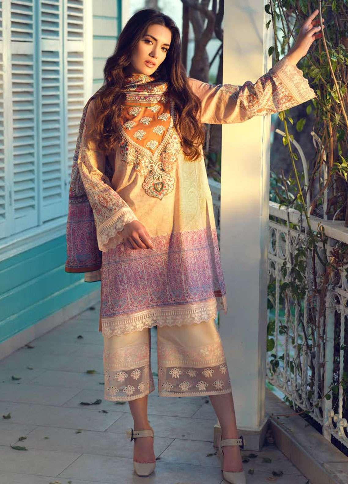 Tena Durrani Embroidered Lawn Unstitched 3 Piece Suit TD19L 13 AIN-E-AKBARI - Spring / Summer Collection