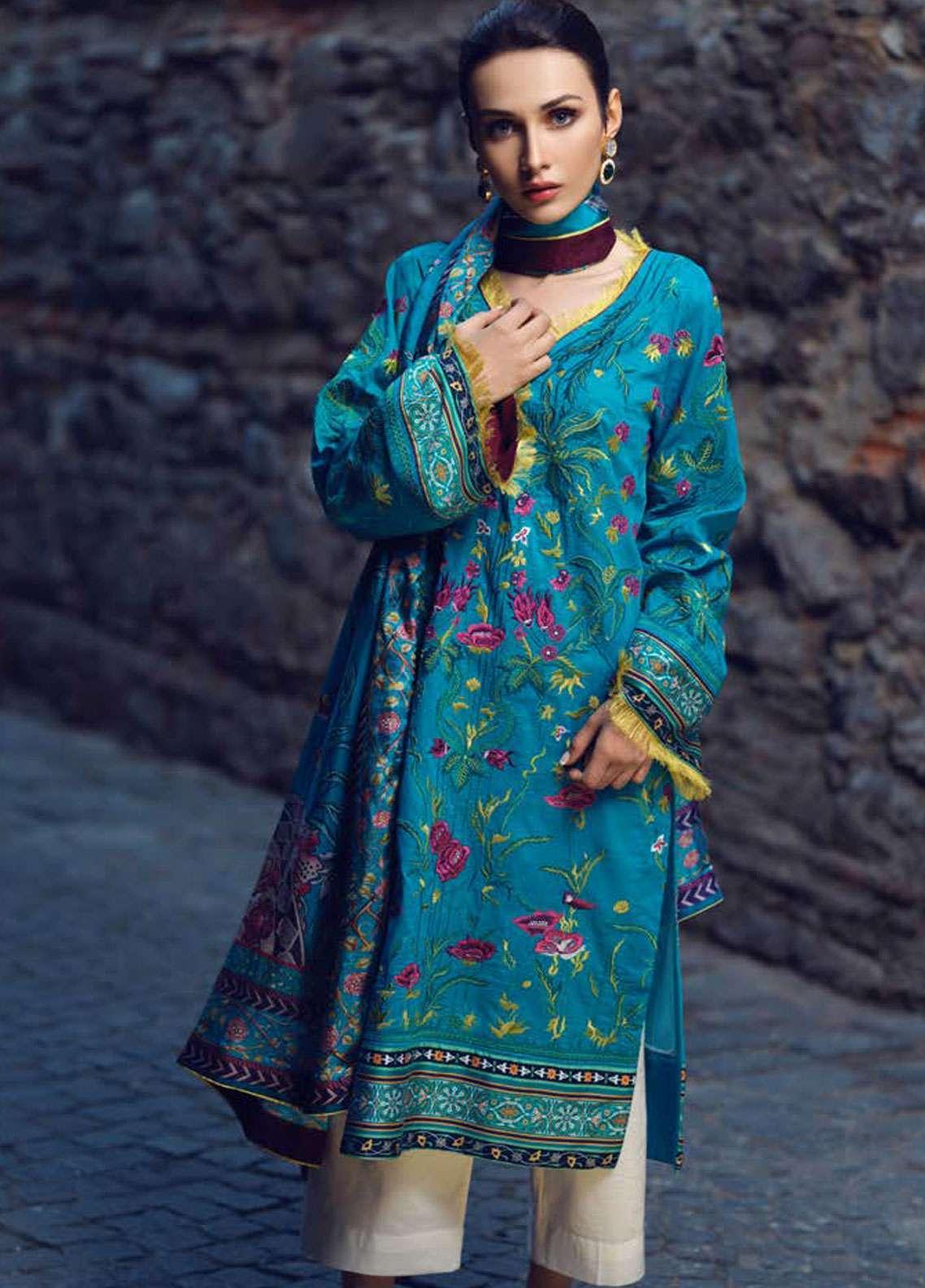 Tena Durrani Embroidered Lawn Unstitched 3 Piece Suit TD19L 16 FLEUR-DE-LIS - Spring / Summer Collection
