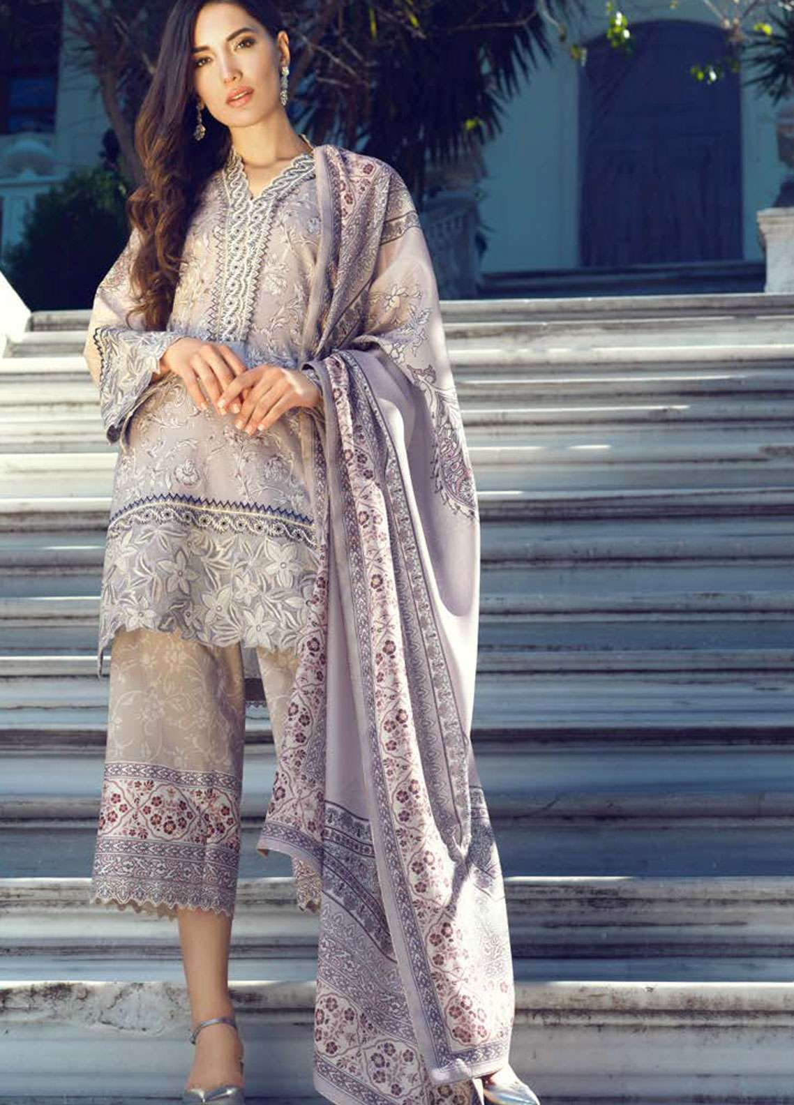 Tena Durrani Embroidered Lawn Unstitched 3 Piece Suit TD19L 8B FERAZIA - Spring / Summer Collection