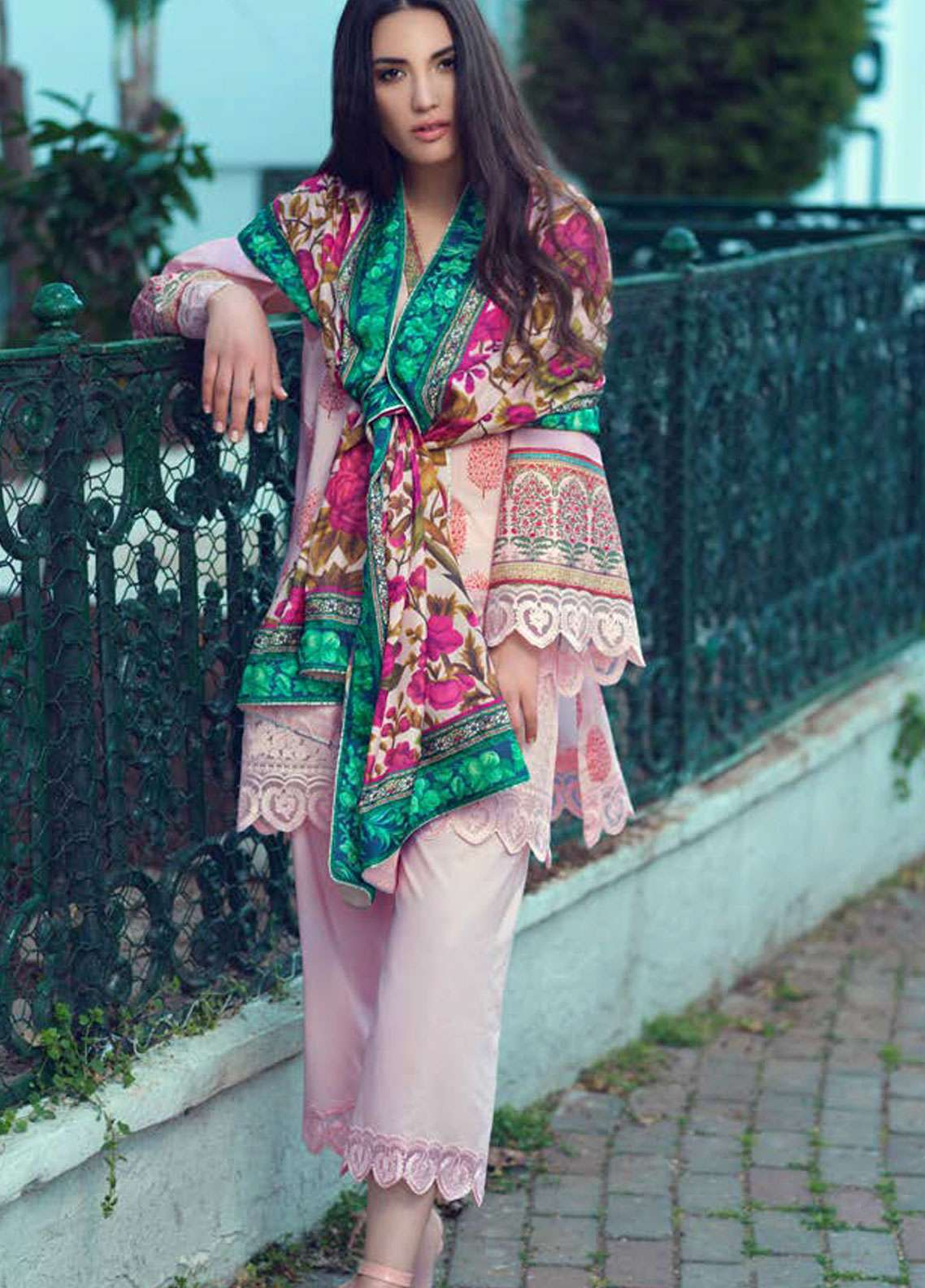 Tena Durrani Embroidered Lawn Unstitched 3 Piece Suit TD19L 9B CARNATION - Spring / Summer Collection