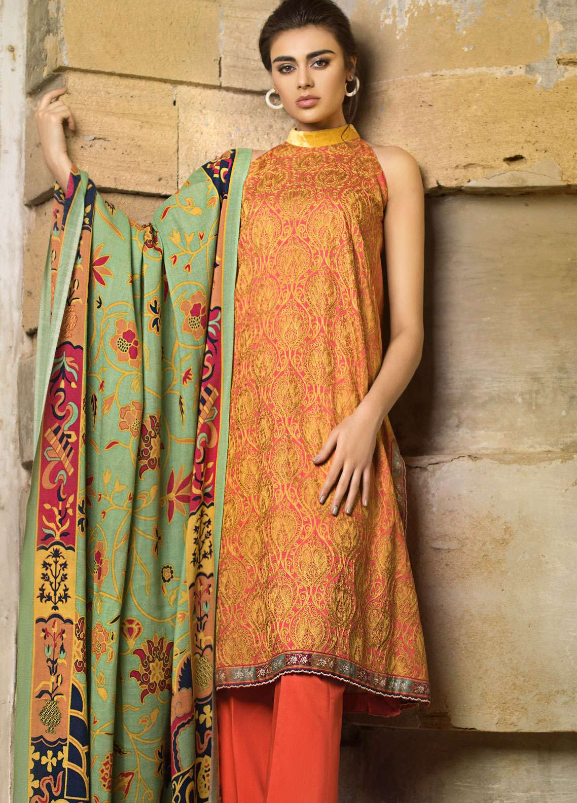 Tena Durrani Embroidered Cotel Linen Unstitched 3 Piece Suit TD18W 6A - Winter Luxury Collection