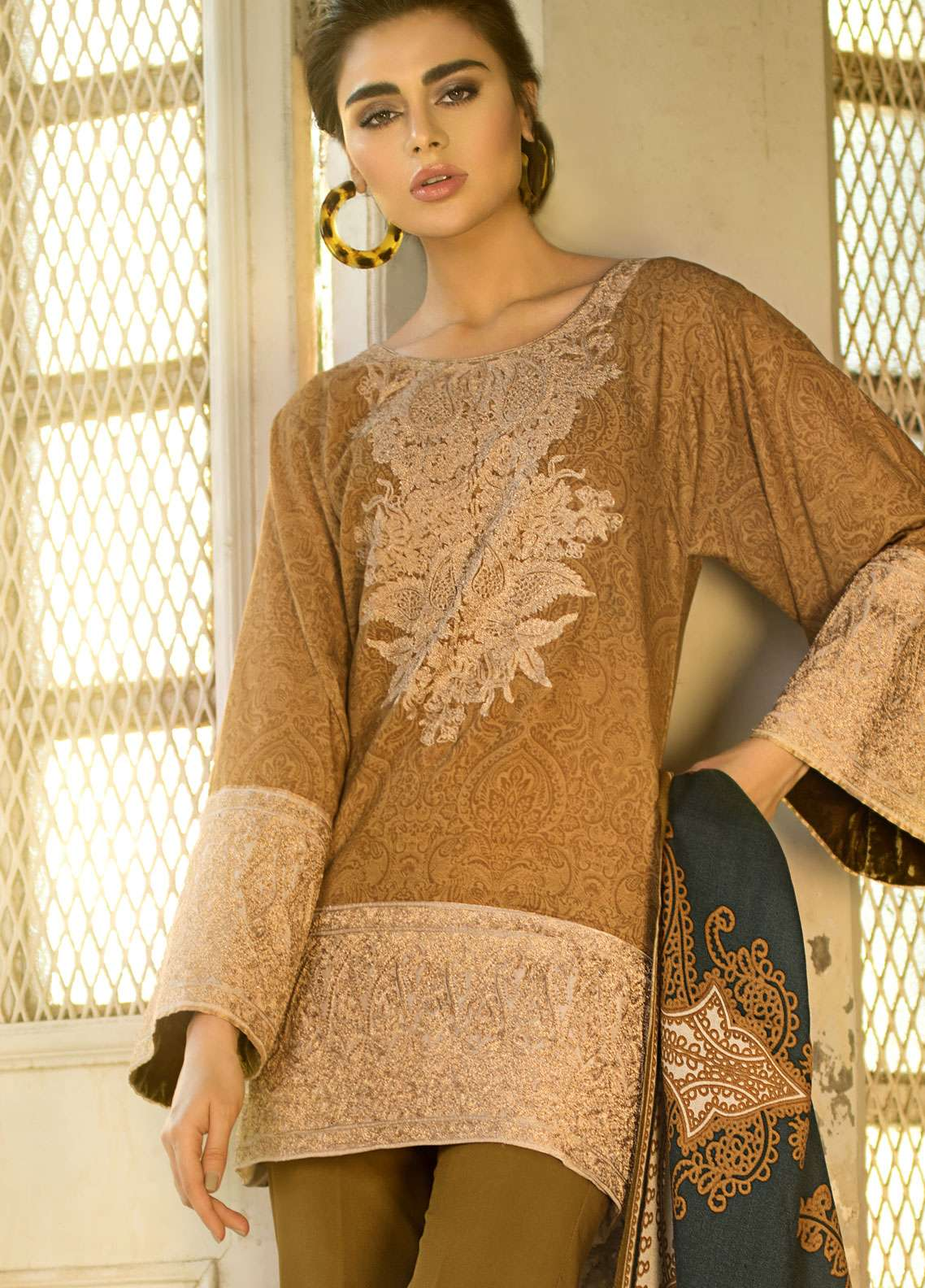 Tena Durrani Embroidered Linen Unstitched 3 Piece Suit TD18W 8A - Winter Luxury Collection