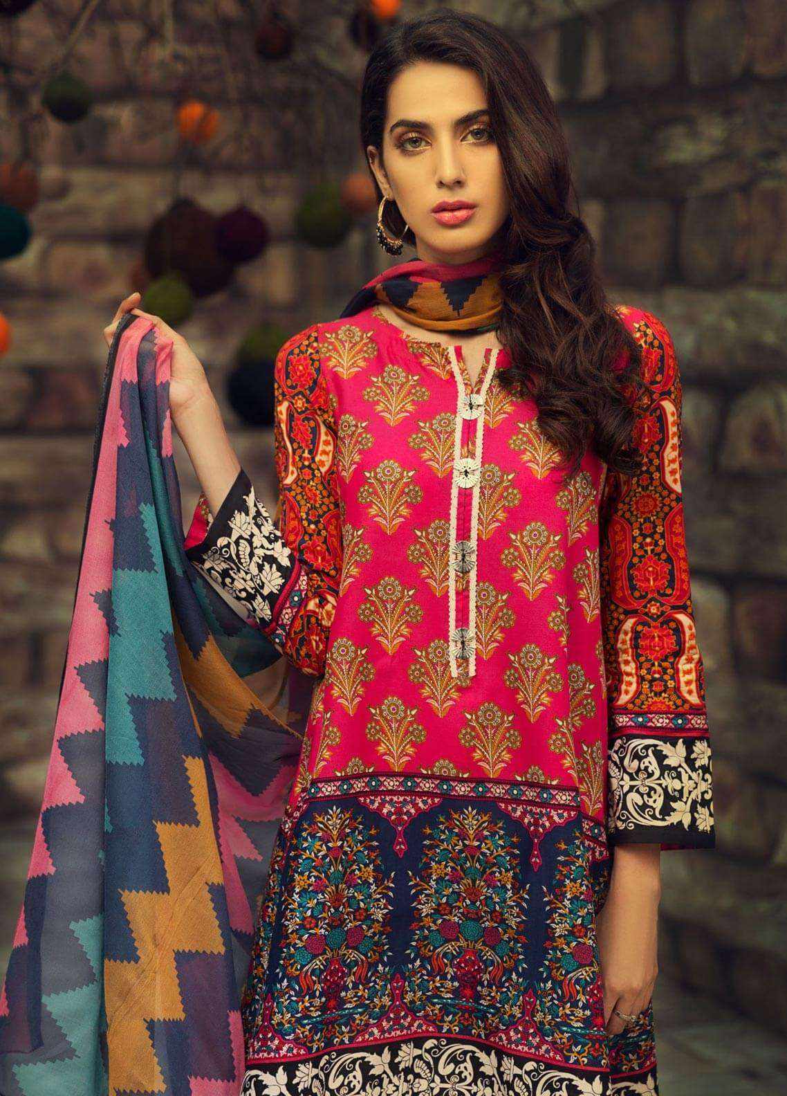 LimeLight Printed Cambric Unstitched 2 Piece Suit TREASURE (PINK) - Cambric Collection