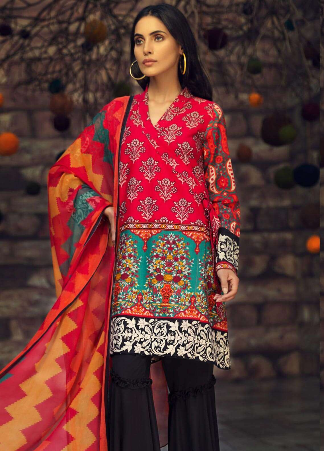 LimeLight Printed Cambric Unstitched 2 Piece Suit TREASURE (RED) - Cambric Collection