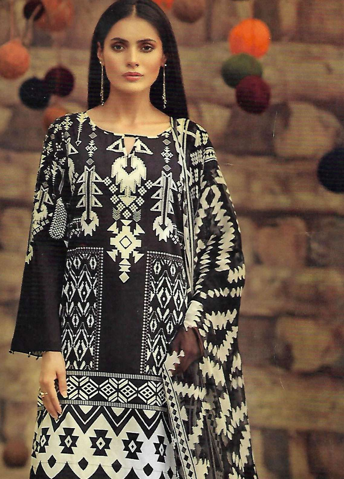 LimeLight Printed Cambric Unstitched 2 Piece Suit TRIBAL TIDE (BLACK) - Cambric Collection