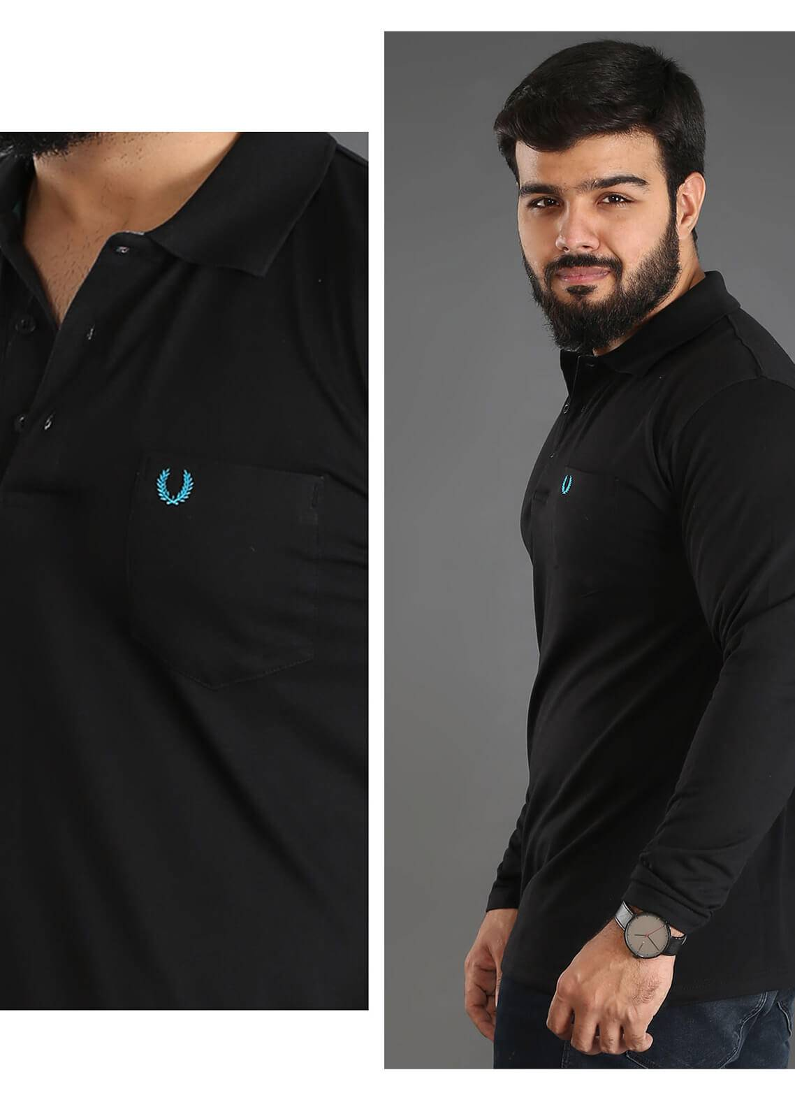 UC Clothing Jersey Polo Shirts for Men - Black UC18PS 01