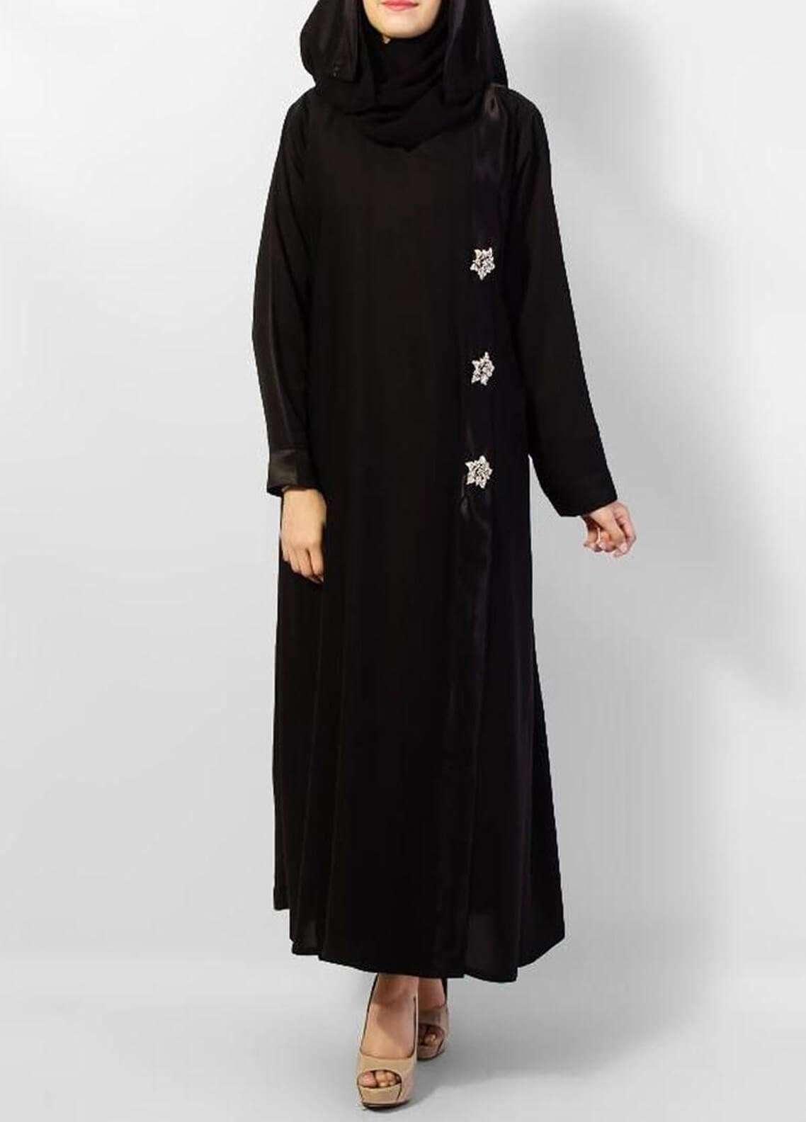 Hijab ul Hareem  Abayas V Neck Stylish Black Abaya 0117-W-11