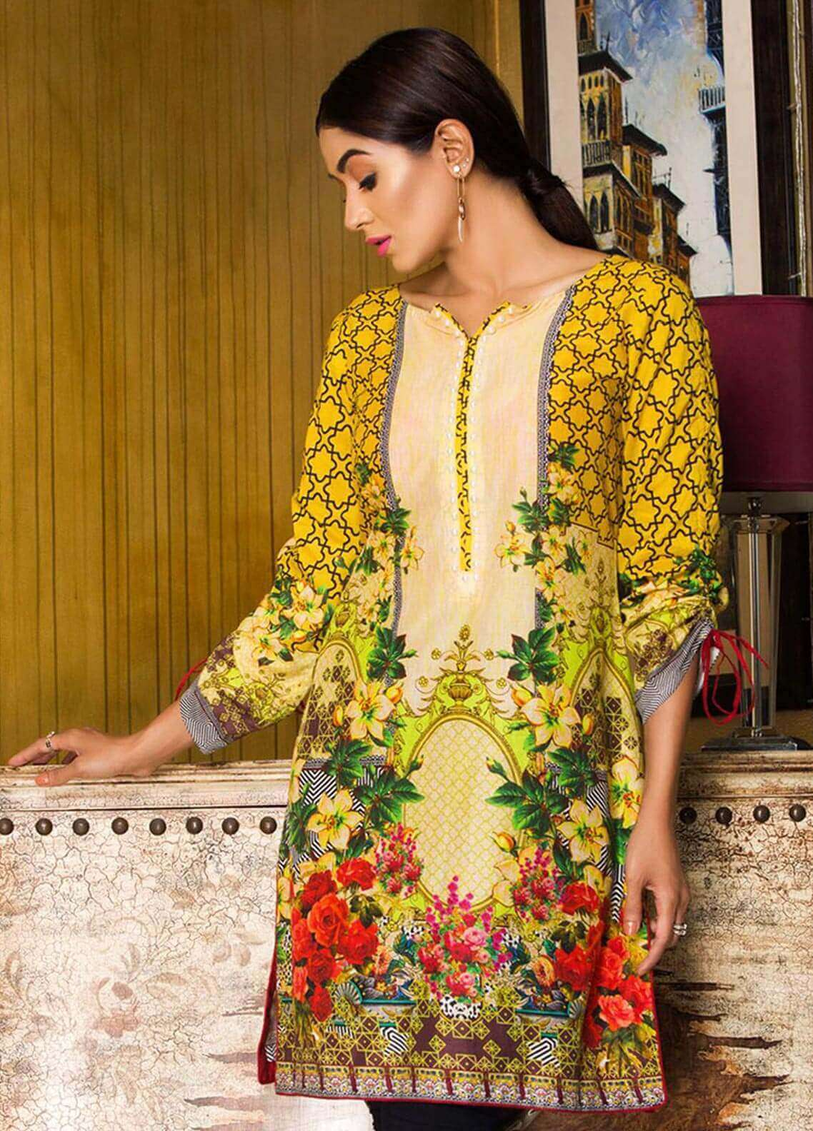 Veena Durrani Printed Lawn Unstitched Kurties VD18K 02 - Summer Collection