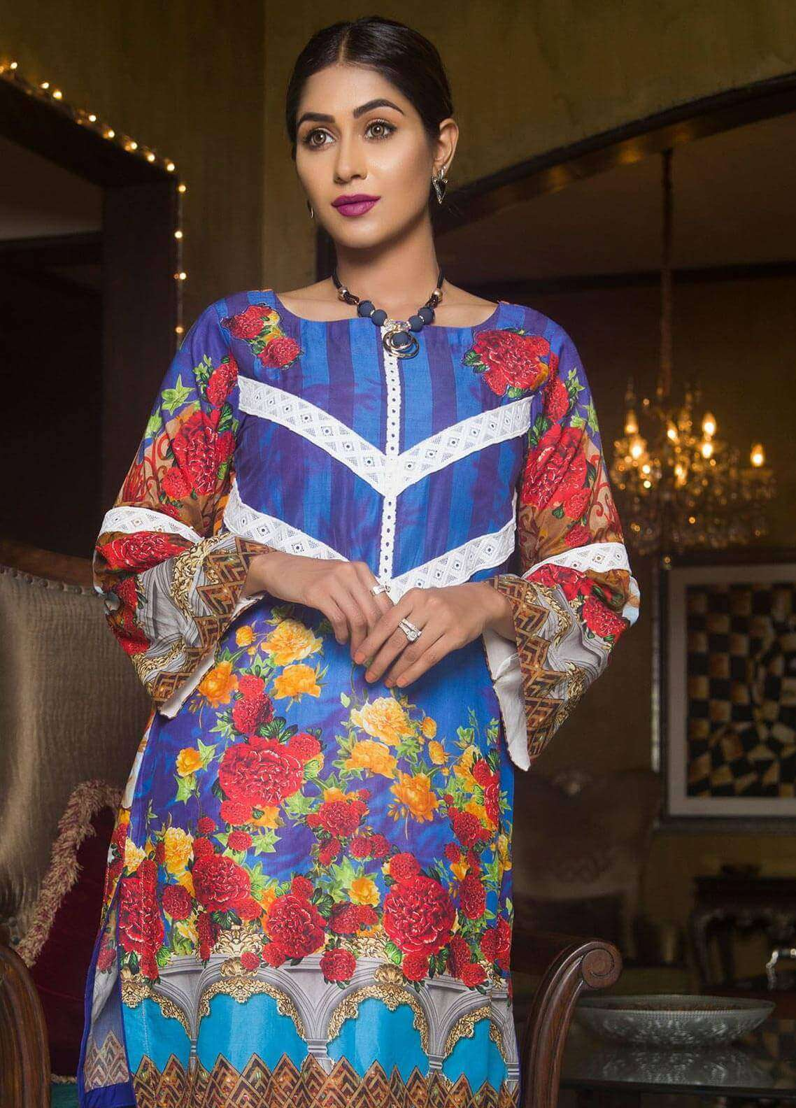 Veena Durrani Printed Lawn Unstitched Kurties VD18K 06 - Summer Collection