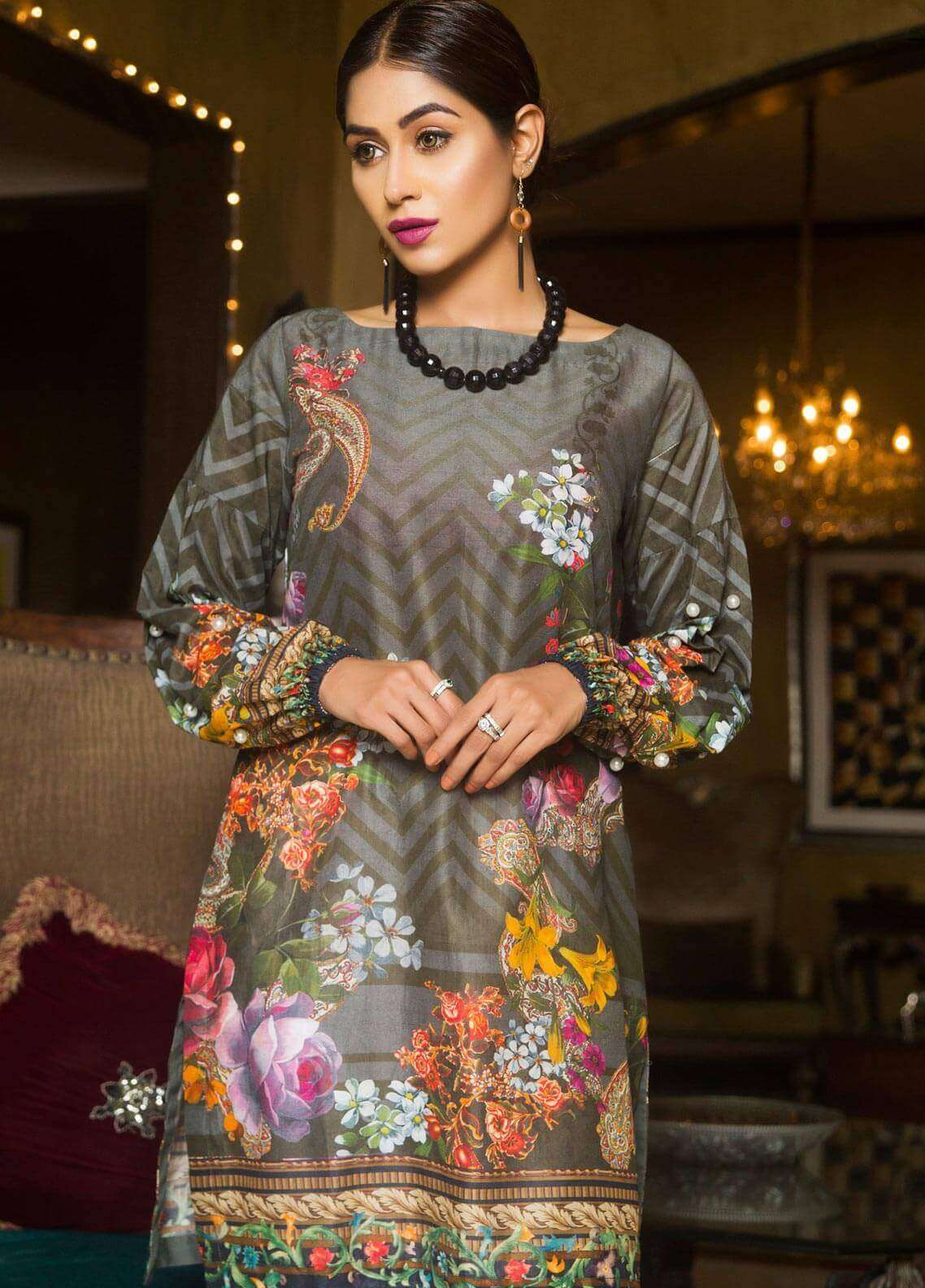 Veena Durrani Printed Lawn Unstitched Kurties VD18K 07 - Summer Collection