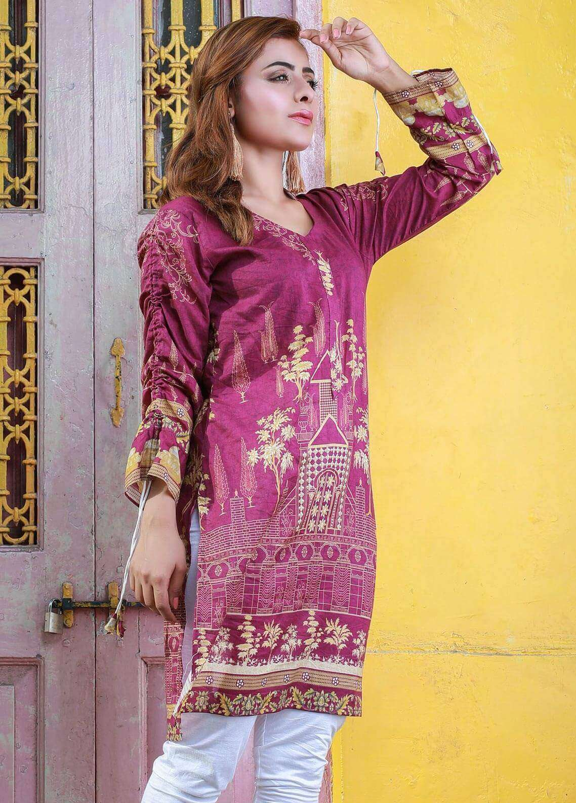 Veena Durrani Printed Lawn Unstitched Kurties VD18K 08 - Summer Collection