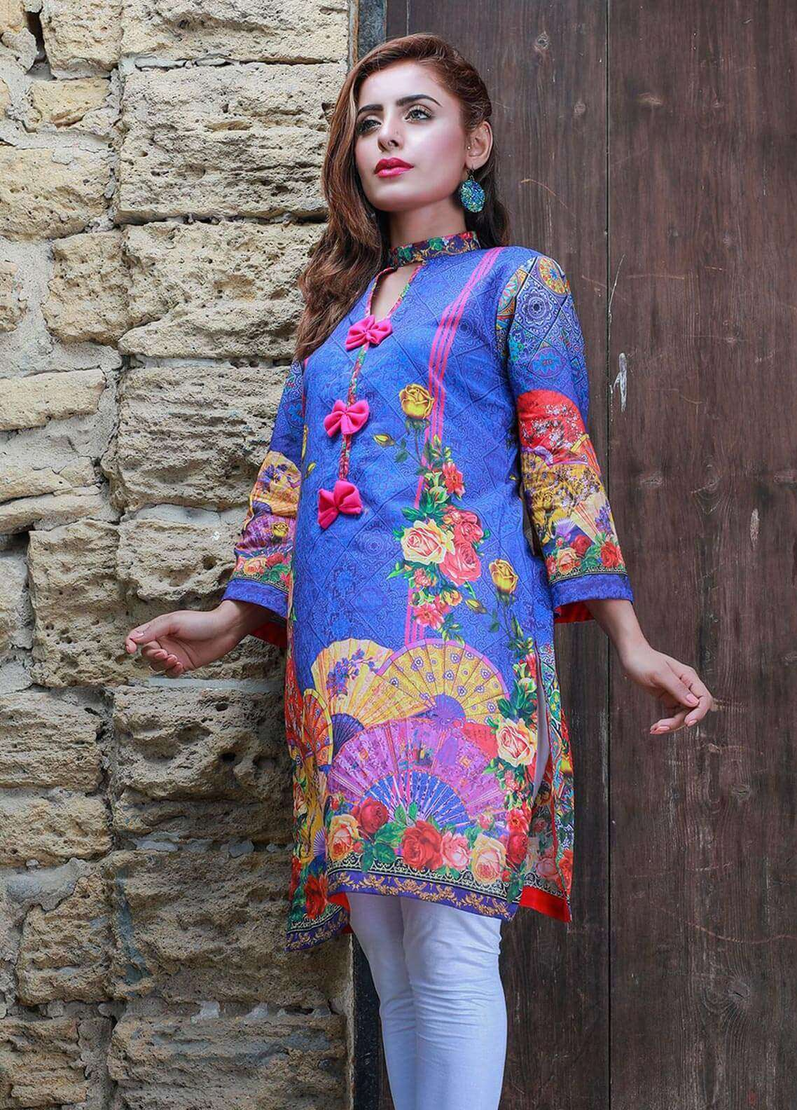 Veena Durrani Printed Lawn Unstitched Kurties VD18K 10 - Summer Collection