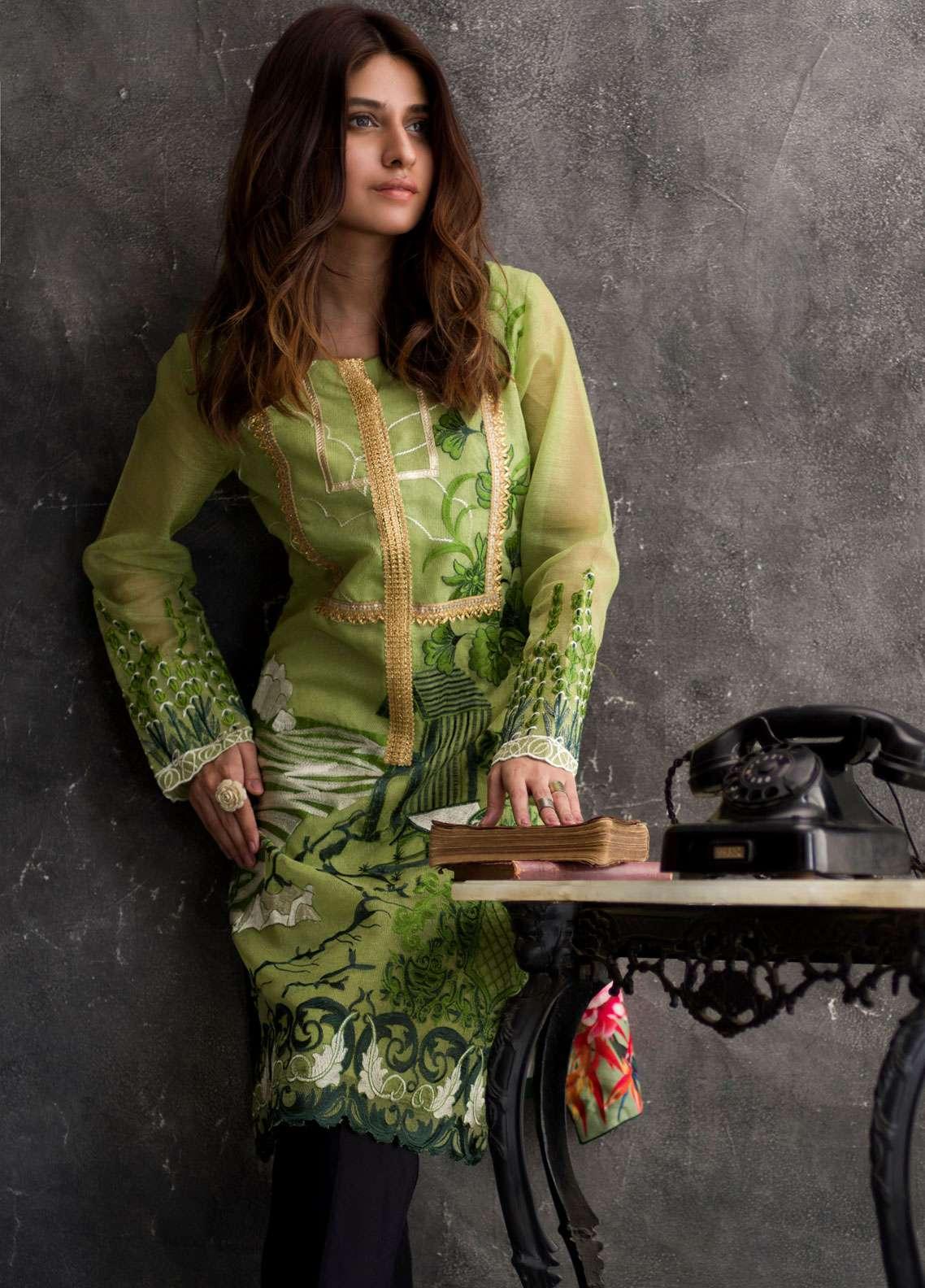 Veena Durrani Embroidered Chiffon Unstitched Kurties VD18EK 01 - Luxury Collection