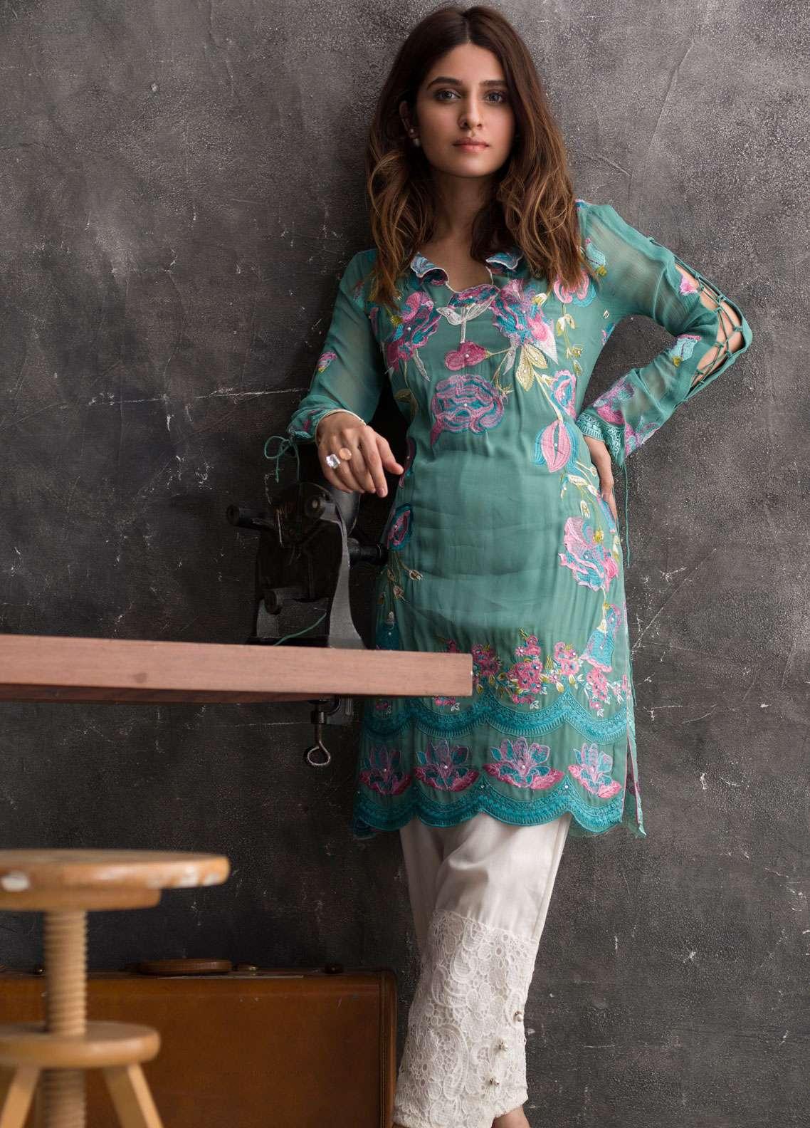 Veena Durrani Embroidered Chiffon Unstitched Kurties VD18EK 03 - Luxury Collection