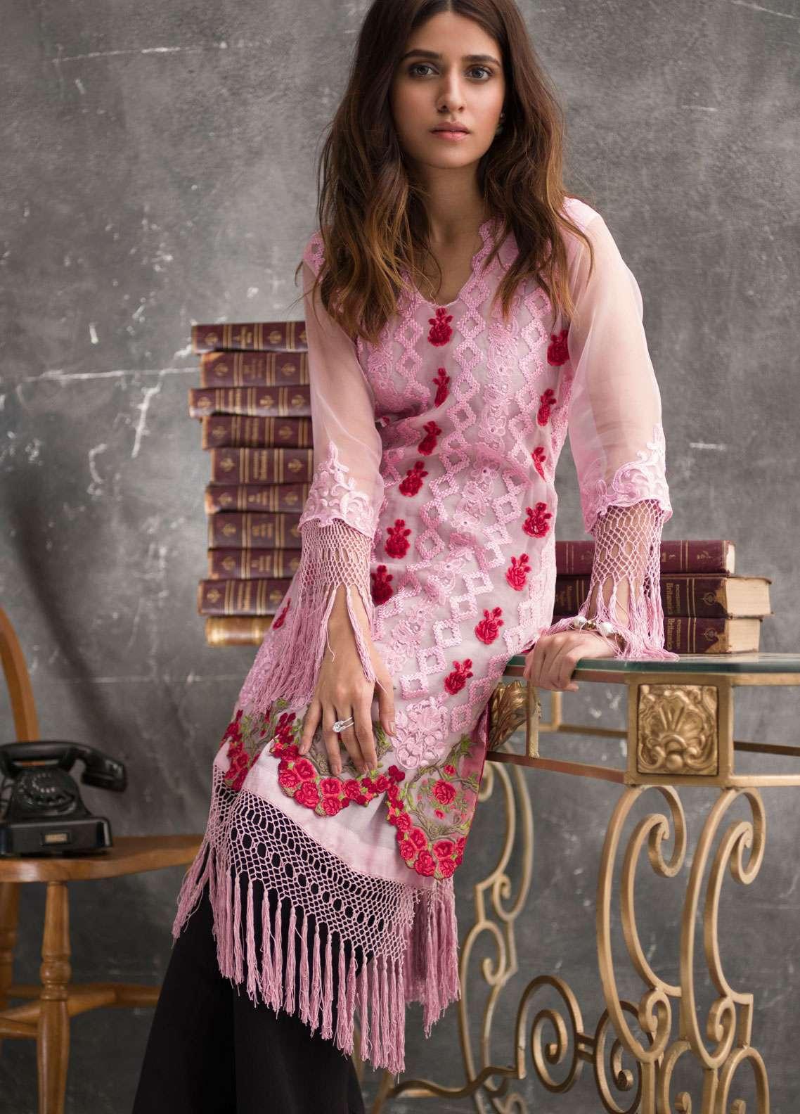 Veena Durrani Embroidered Chiffon Unstitched Kurties VD18EK 04 - Luxury Collection