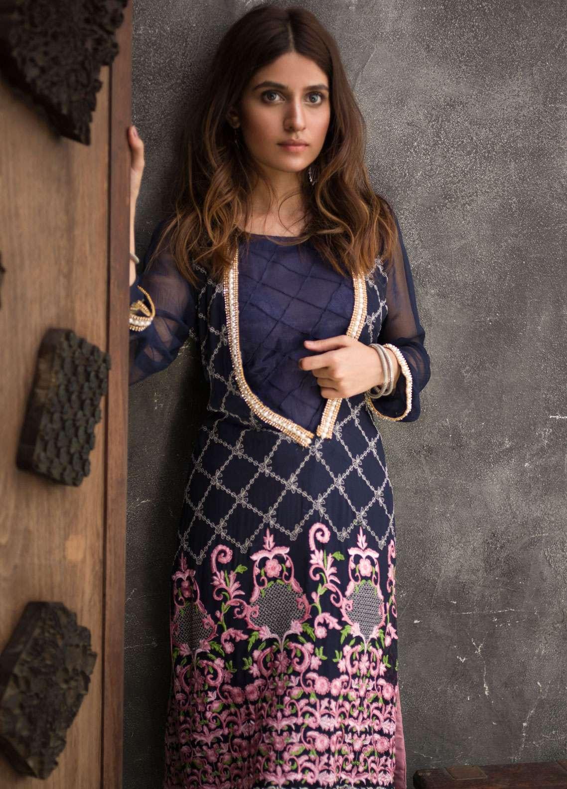 Veena Durrani Embroidered Chiffon Unstitched Kurties VD18EK 07 - Luxury Collection